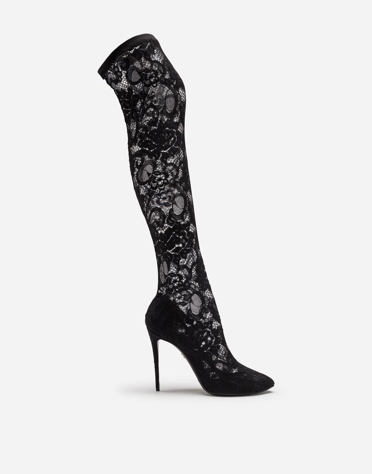 Stretch lace and gros grain boots