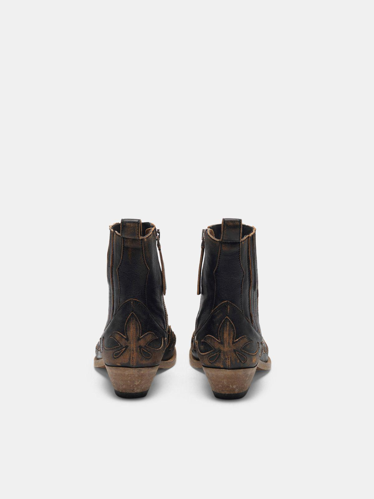 Black aged-leather Santiago ankle boots 1