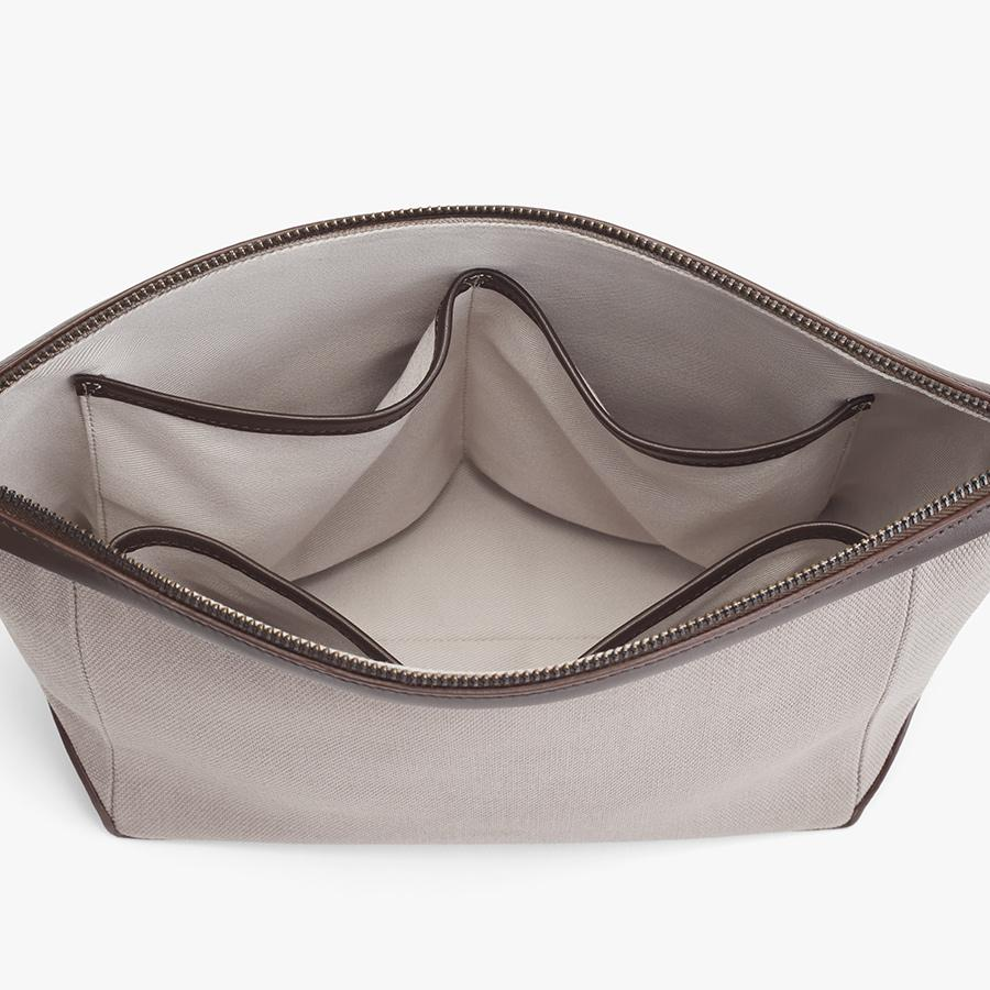Women's Travel Zipper Pouch in Soft Grey/Dark Brown | Canvas & Smooth Leather by Cuyana 1