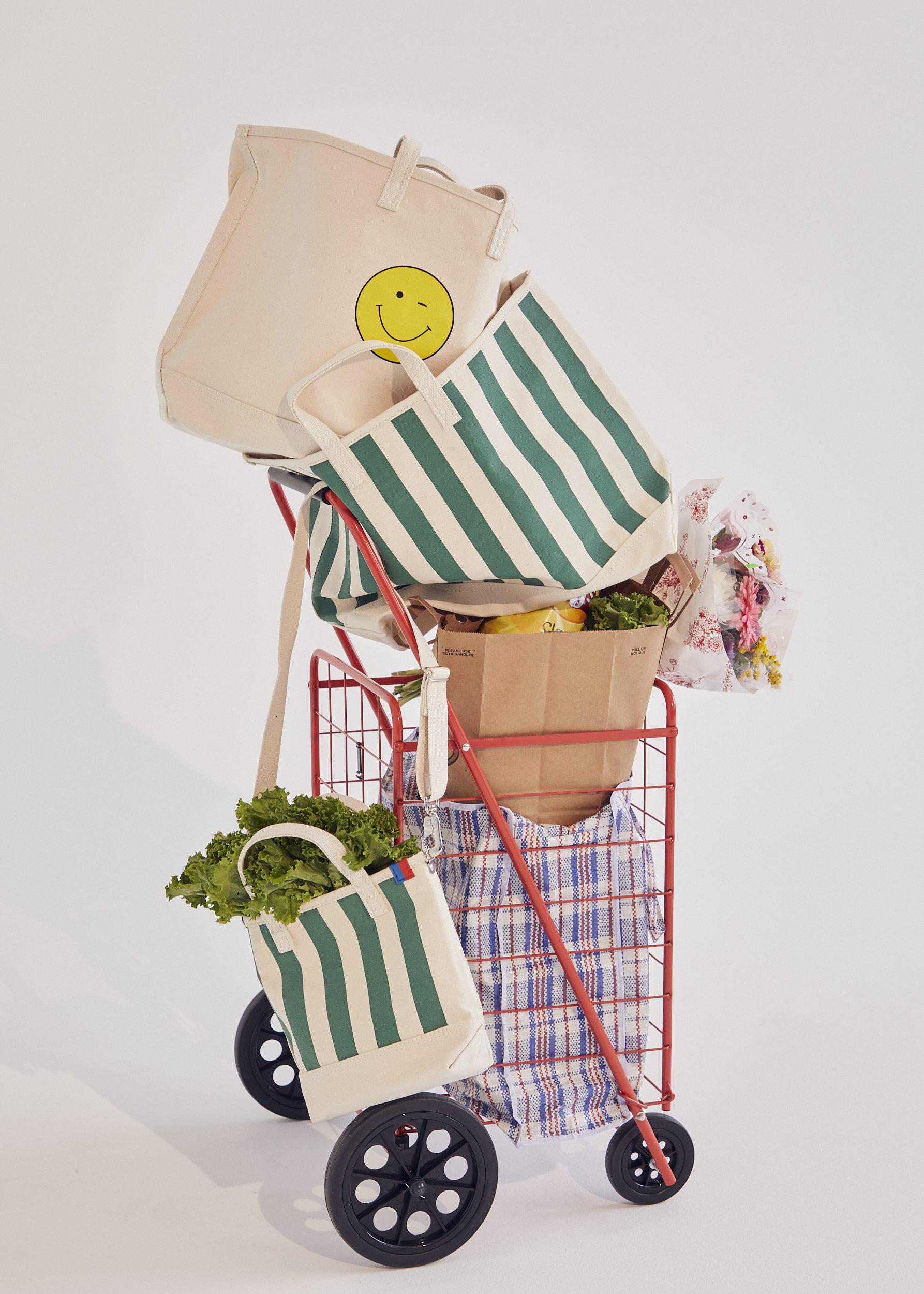 The All Over Striped Tote - Canvas/Green 2