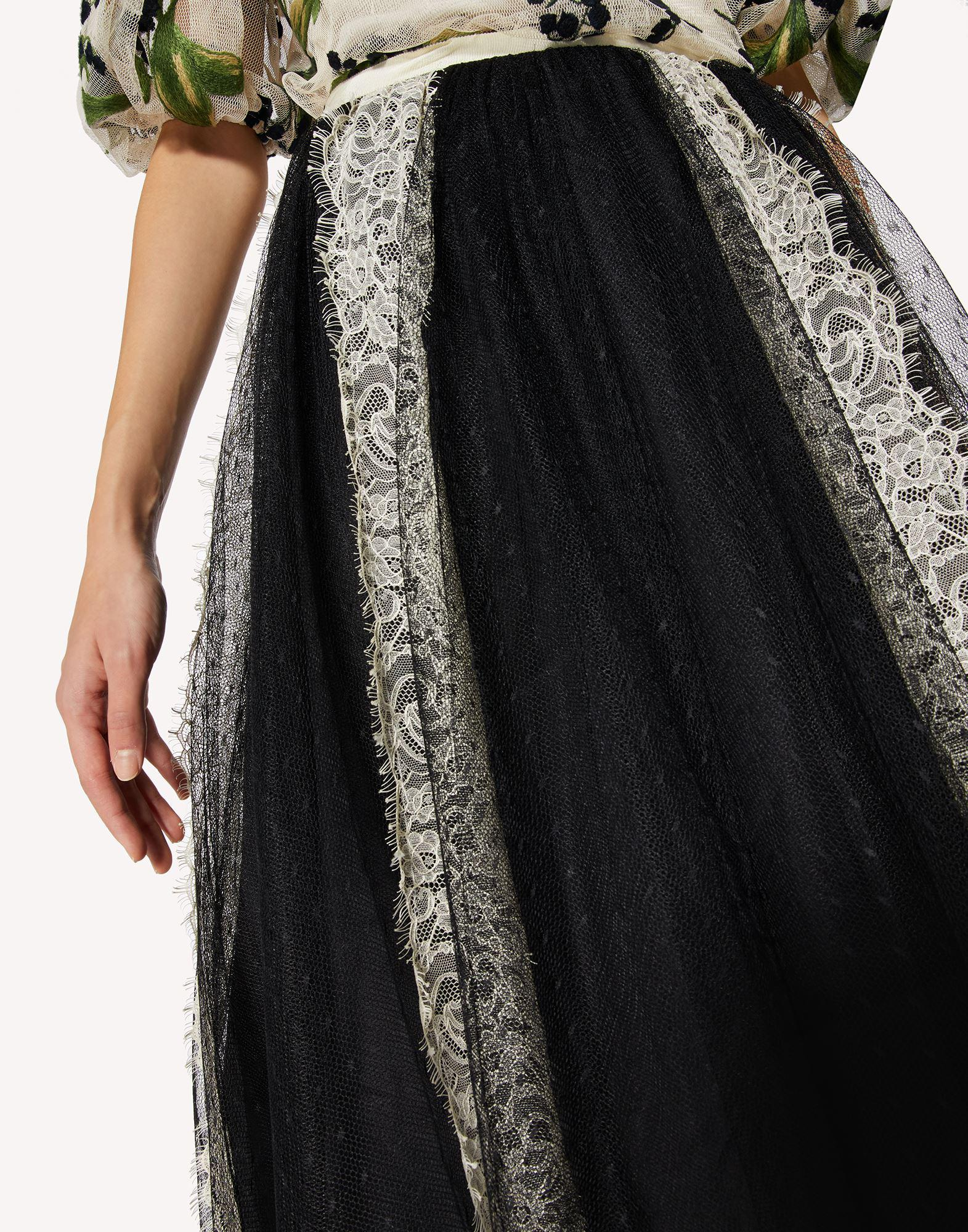 POINT D'ESPRIT TULLE SKIRT WITH LACE RIBBONS 4