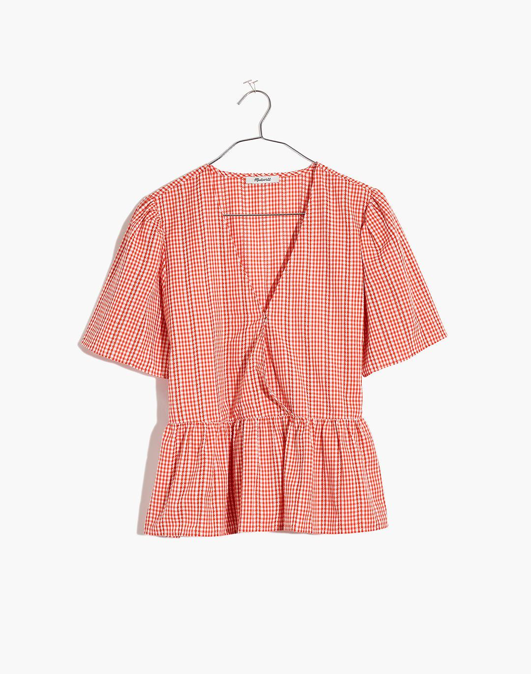 Crossover Peplum Top in Textured Gingham Check 3