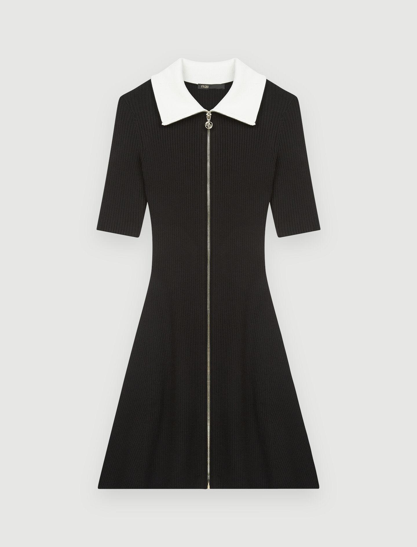 RIBBED KNIT DRESS WITH ZIP COLLAR 4