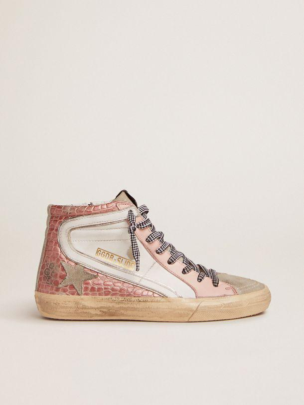 Slide sneakers with white leather and pink crocodile-print leather upper