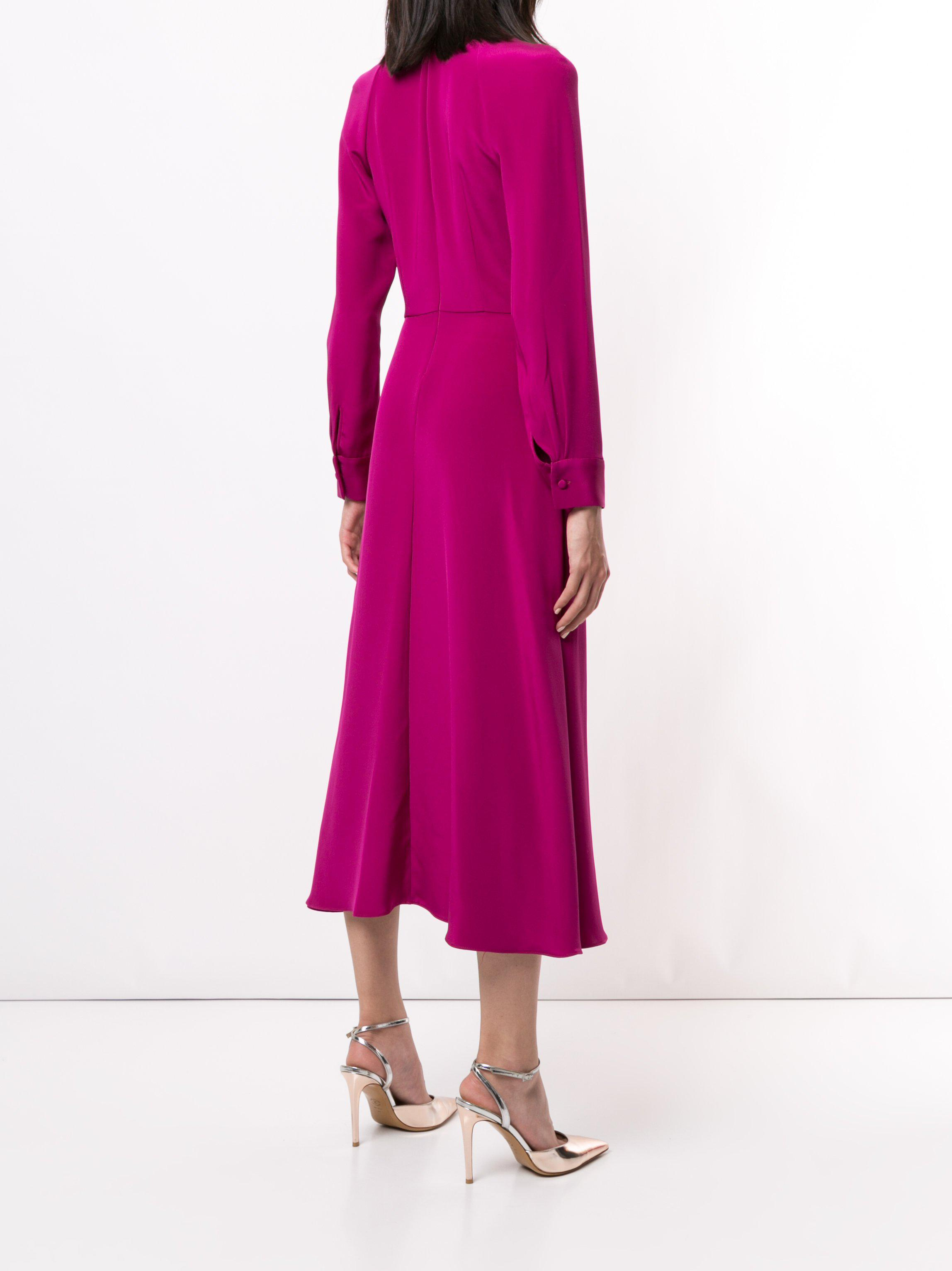 LONG SLEEVE DRESS WITH NECK TWIST IN SILK CREPE 3
