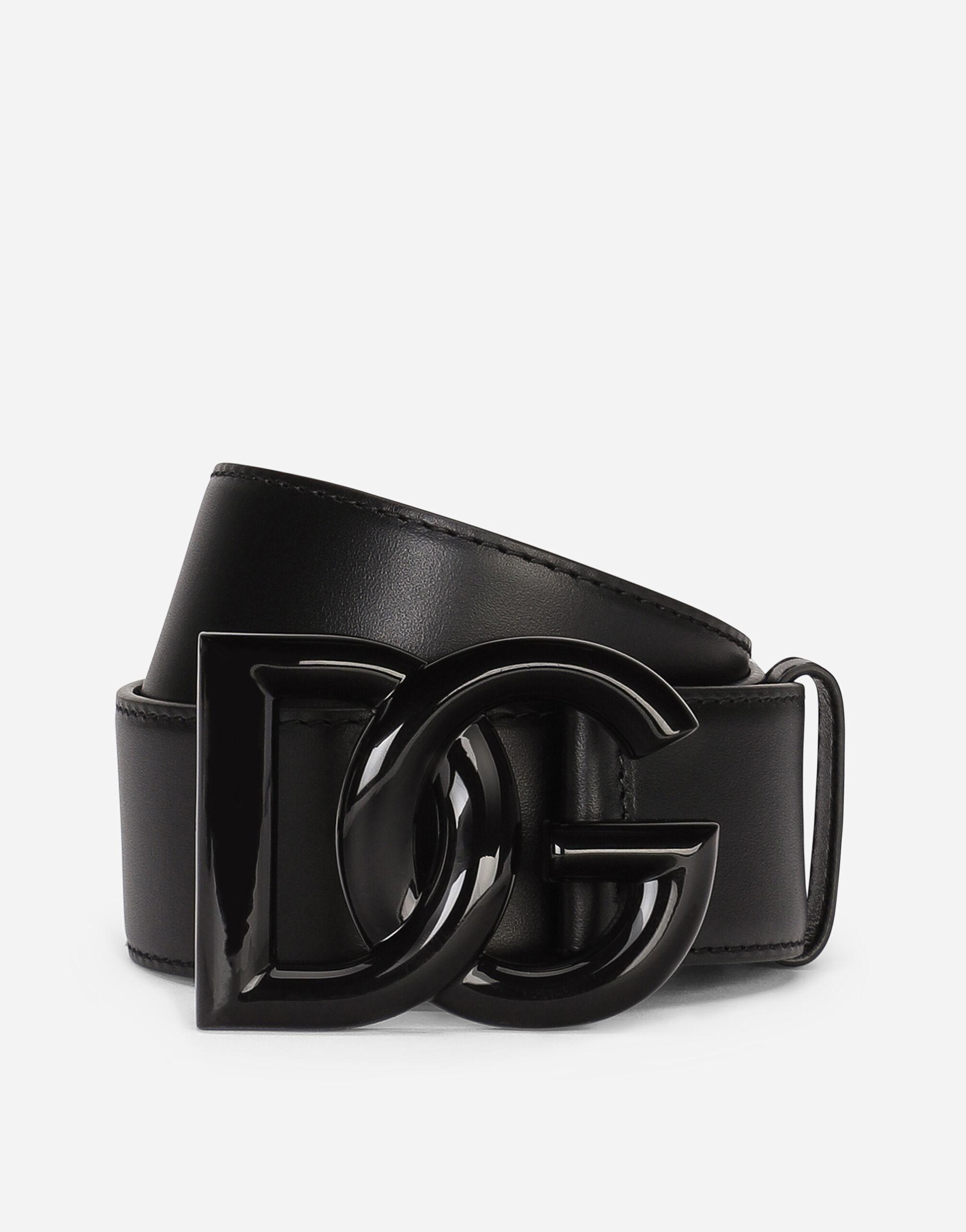 Leather belt with crossover DG logo buckle