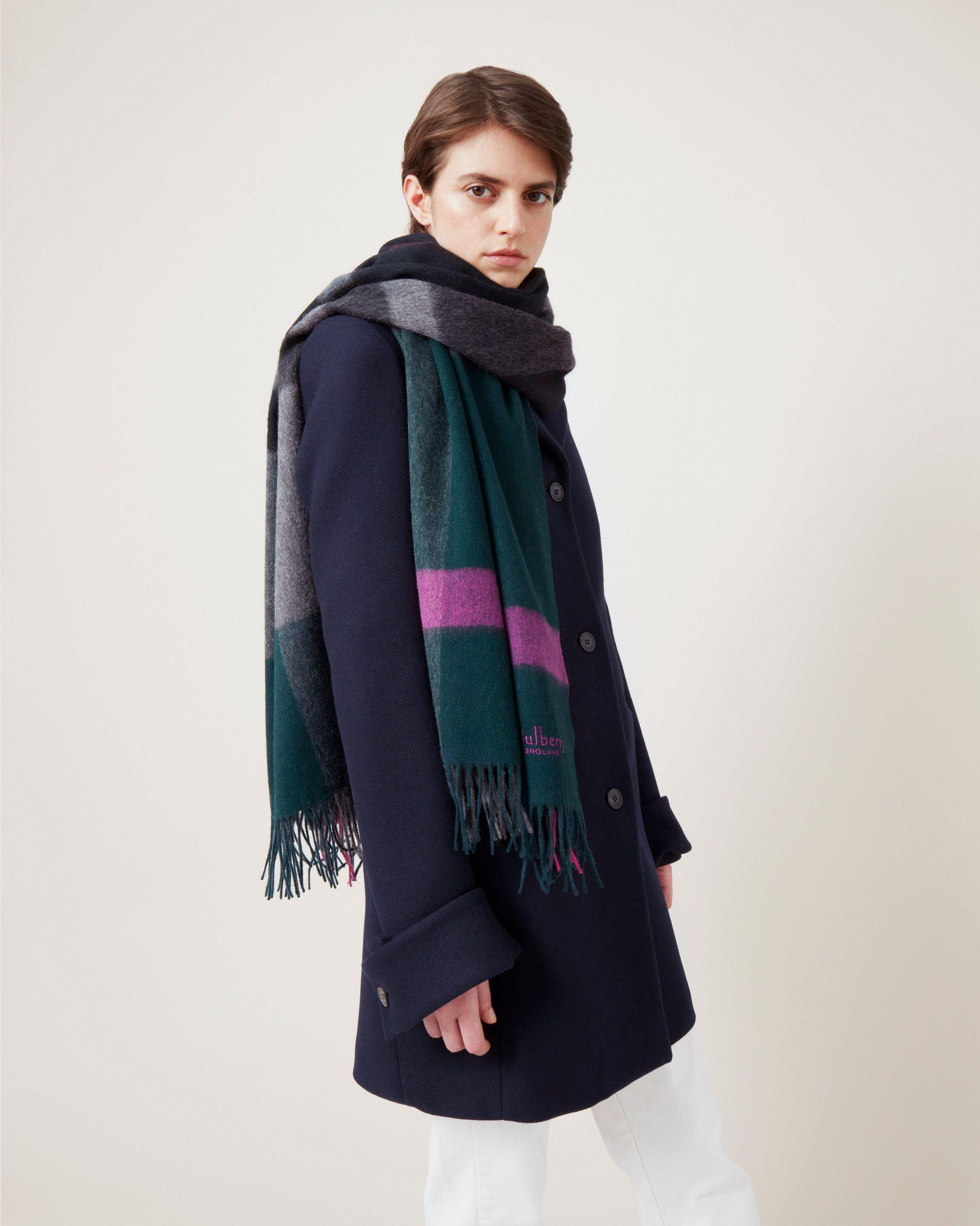 Large Check Lambswool Scarf 2