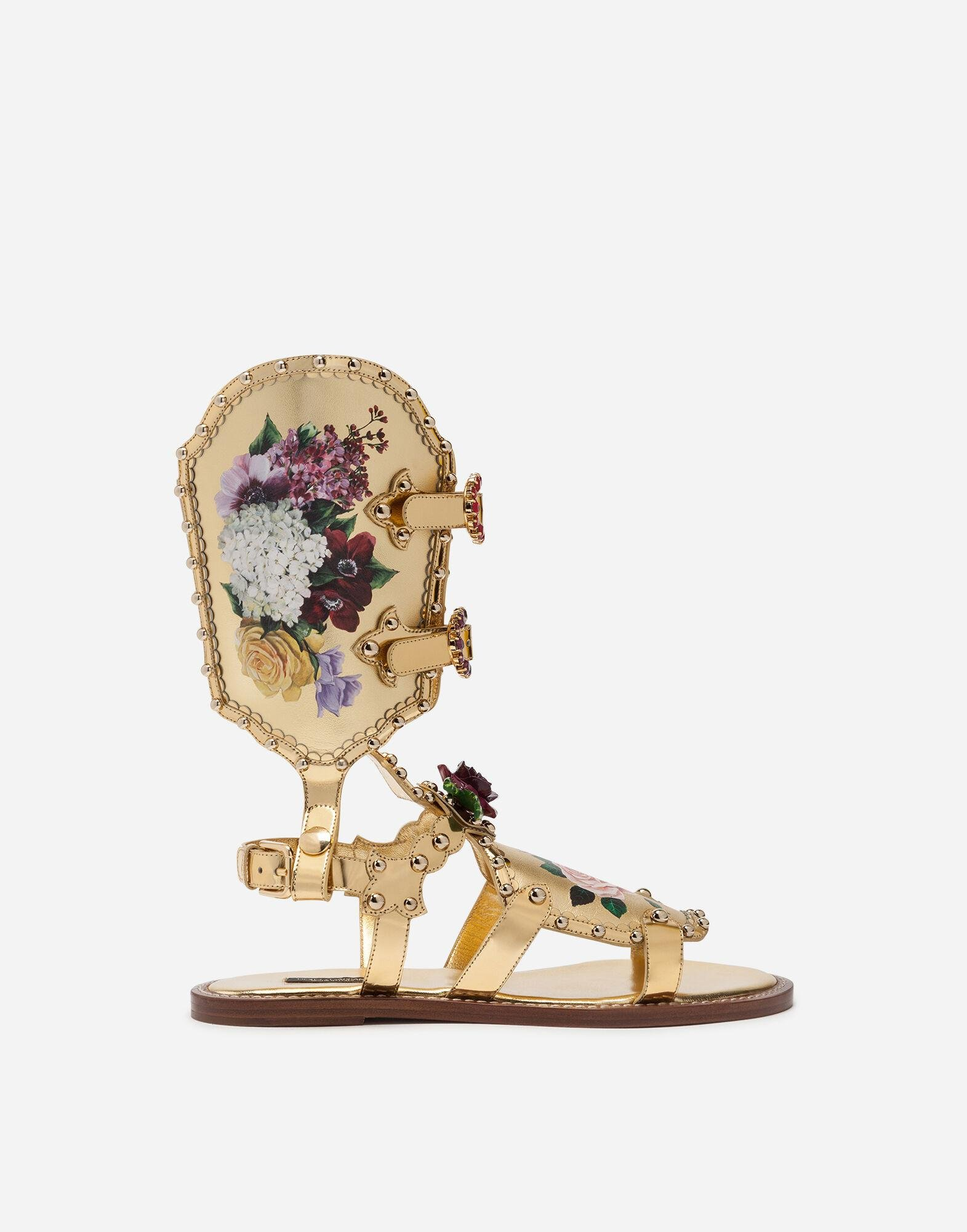 Gladiator sandals with floral painting and studs