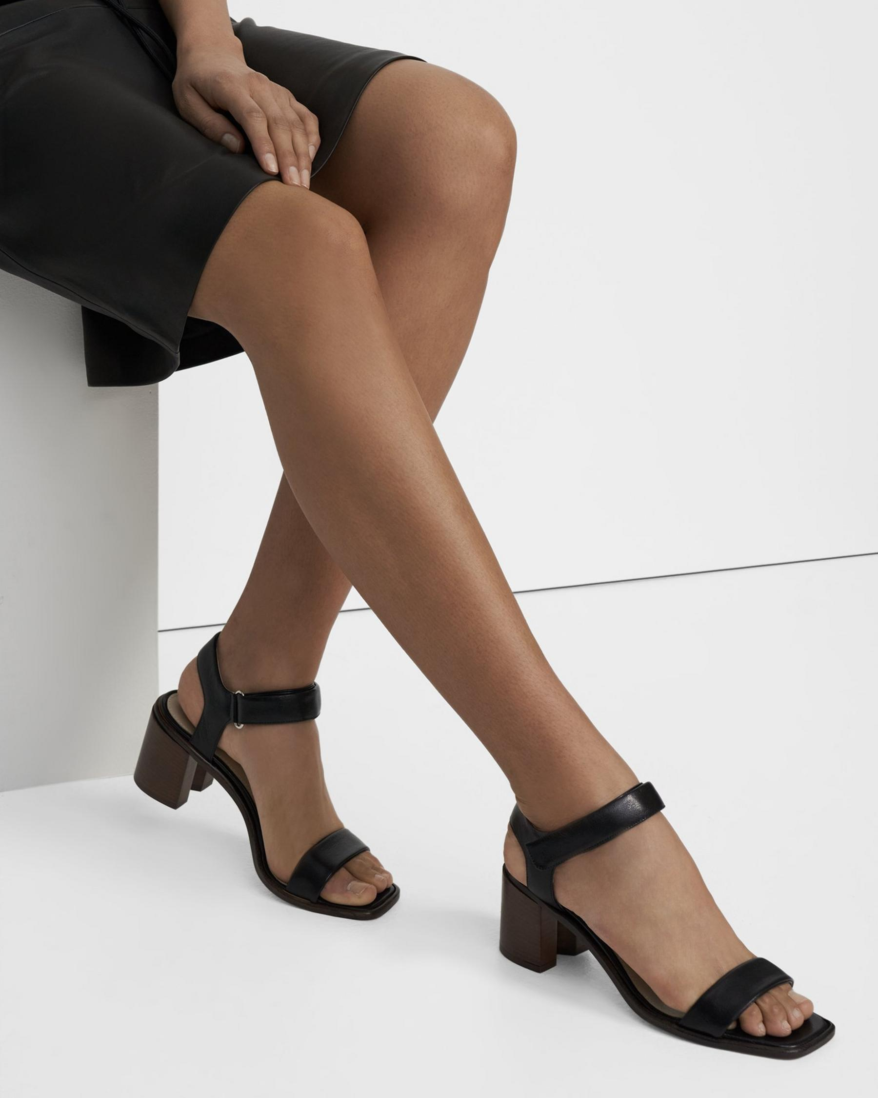 Mid-Ankle Strap Sandal in Leather 0