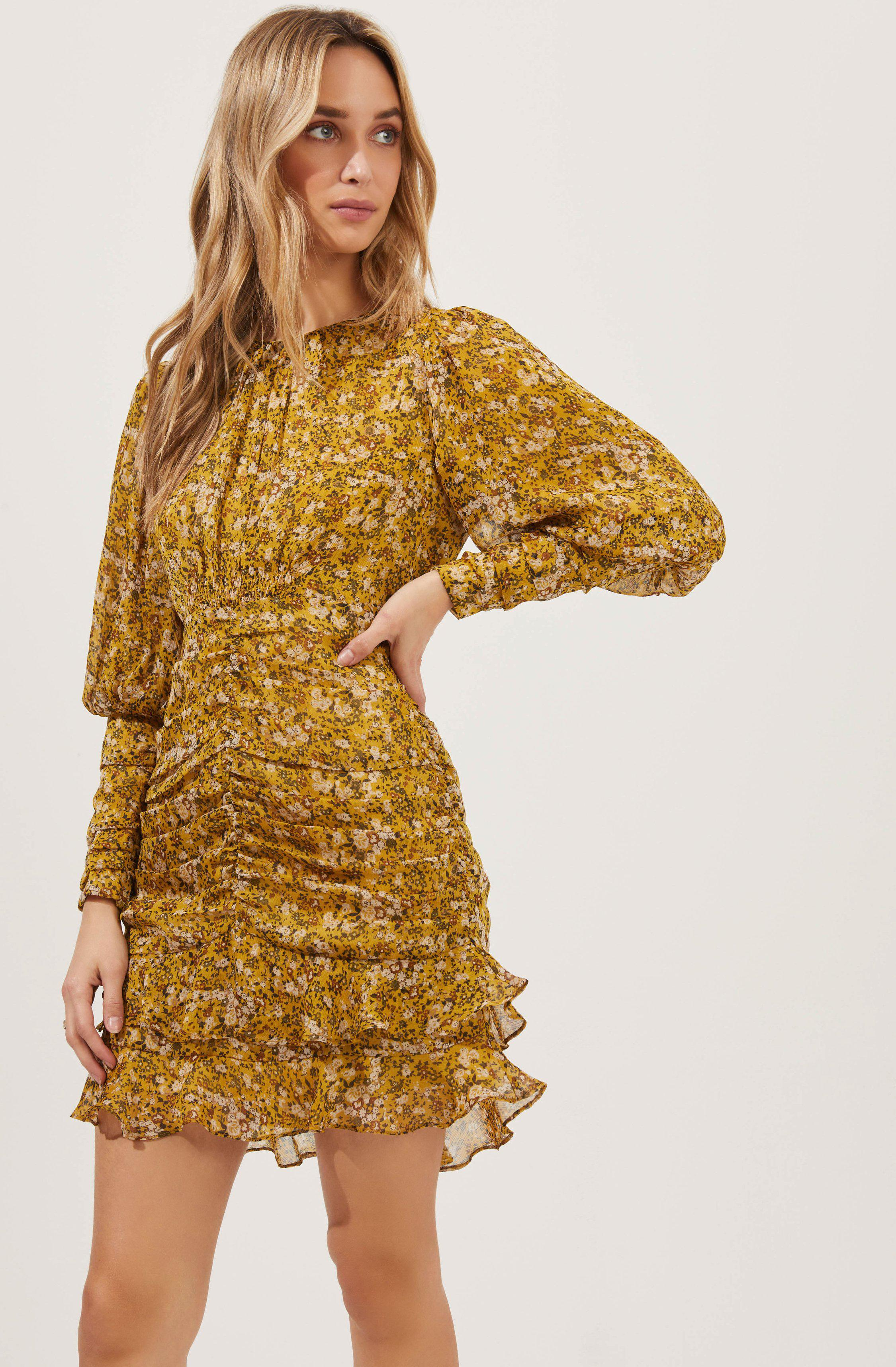 Claremore Floral Ruched Long Sleeve Mini Dress