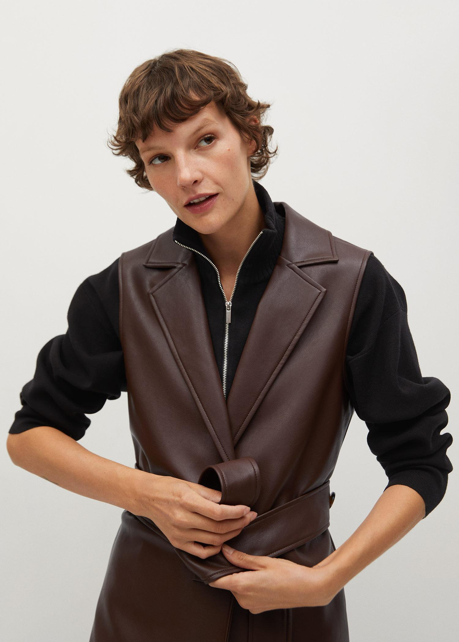 Faux-leather gilet