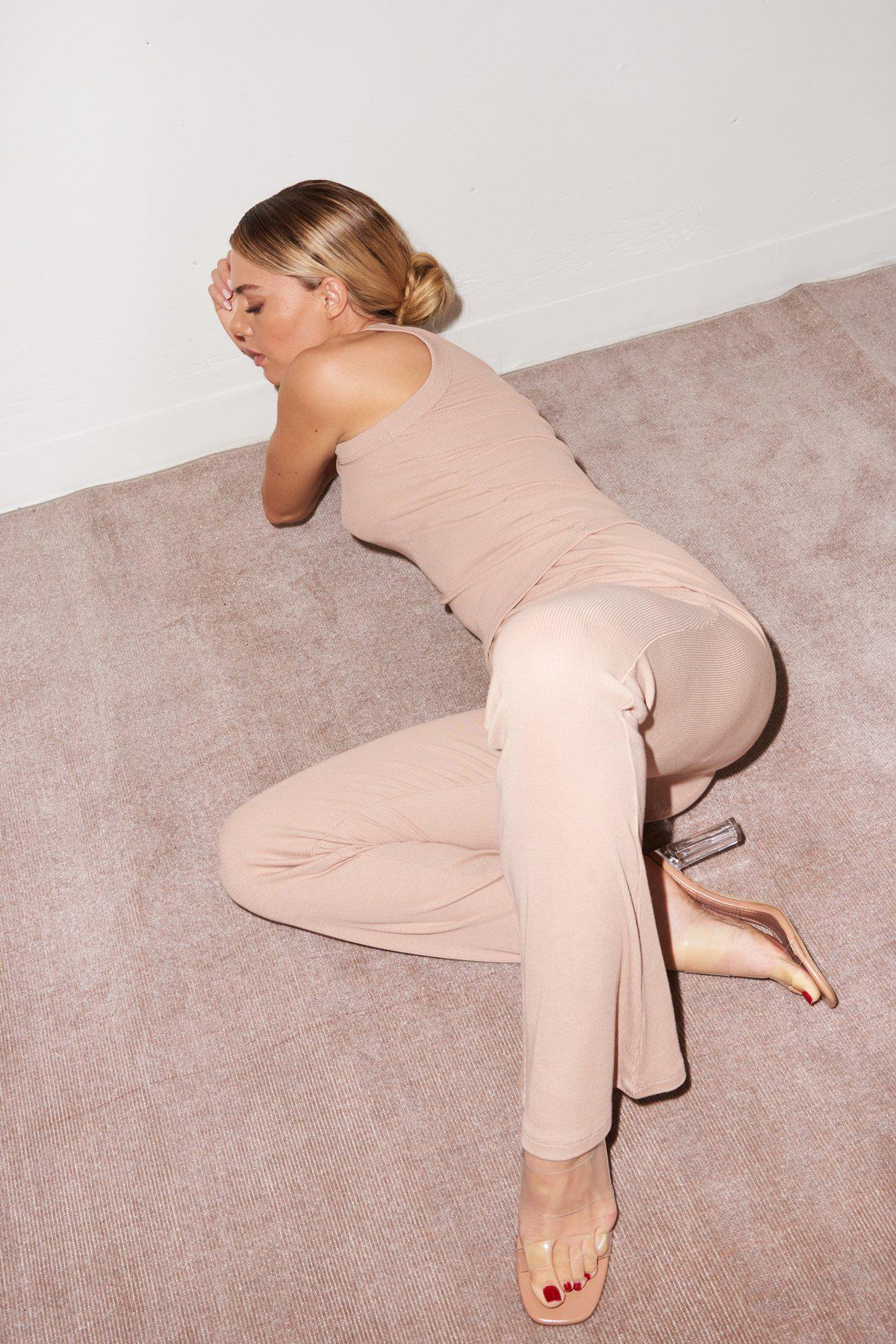 Ribbed Charlotte Pant - Nude 5