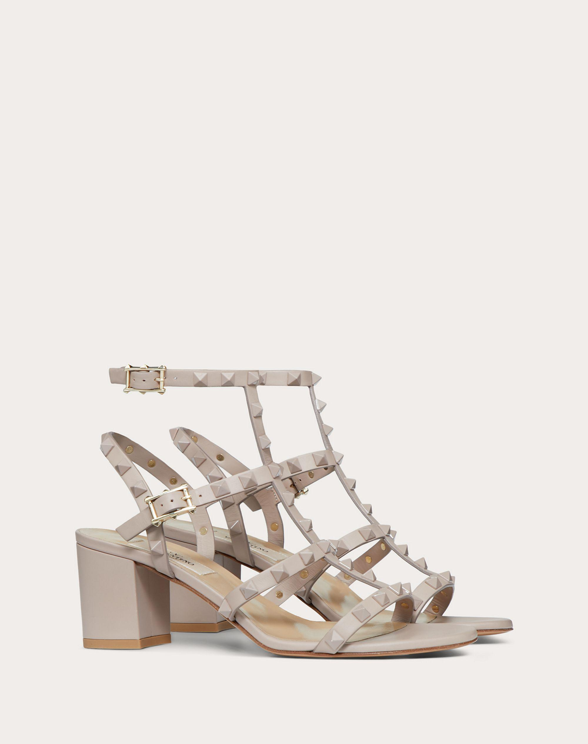 Rockstud Ankle Strap Calfskin Leather Sandal with Tonal Studs 60 mm 1