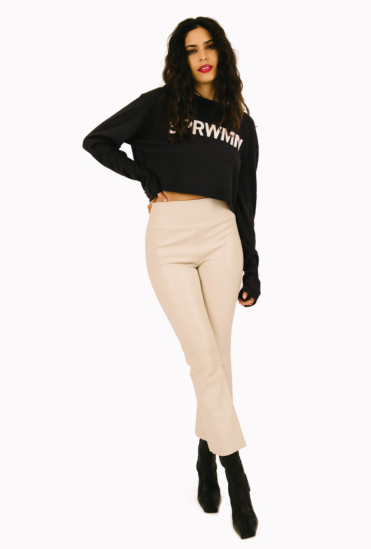 Off White Leather Crop Flare Legging