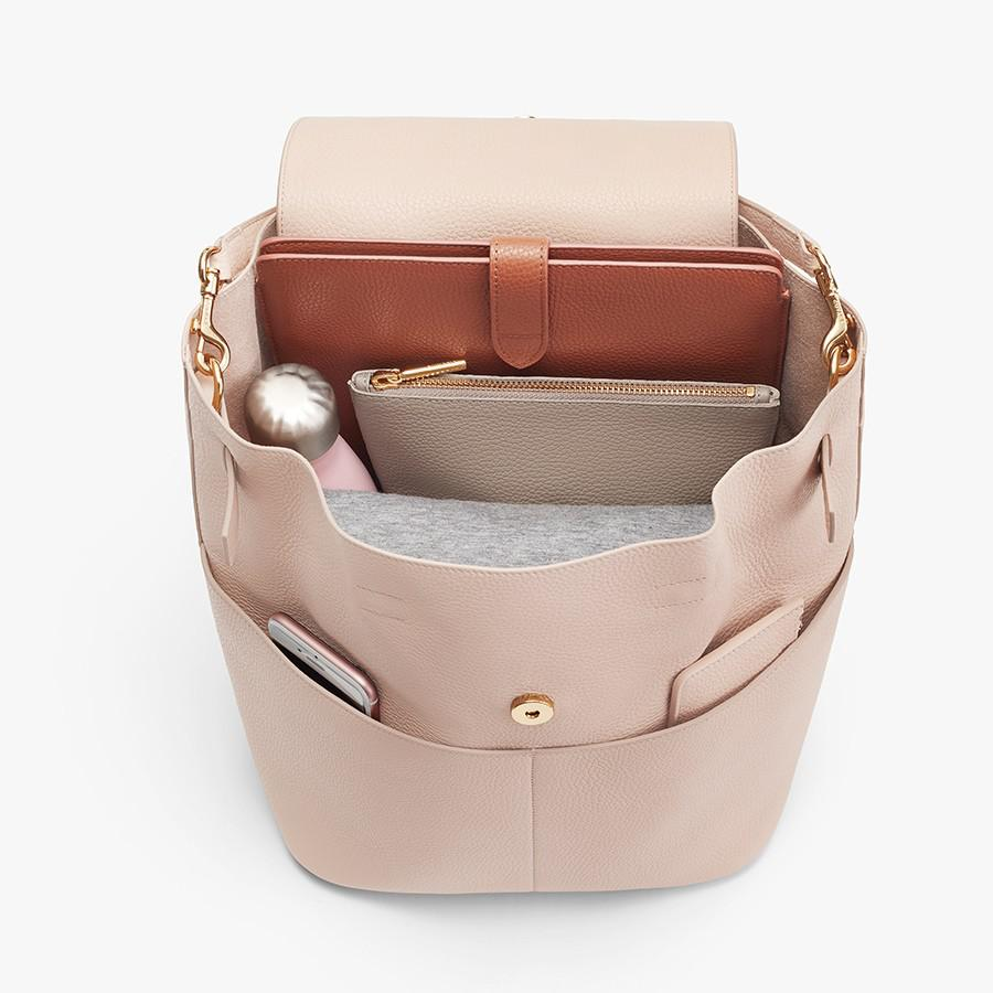 Women's Leather Backpack in Blush Pink | Pebbled Leather by Cuyana 3