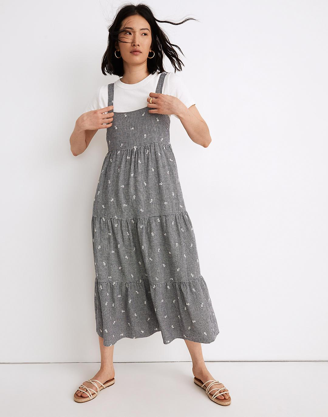 Embroidered Tiered Midi Dress in Gingham Check