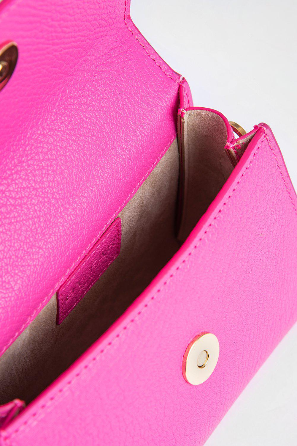 Mini Hot Pink Grained Leather 3
