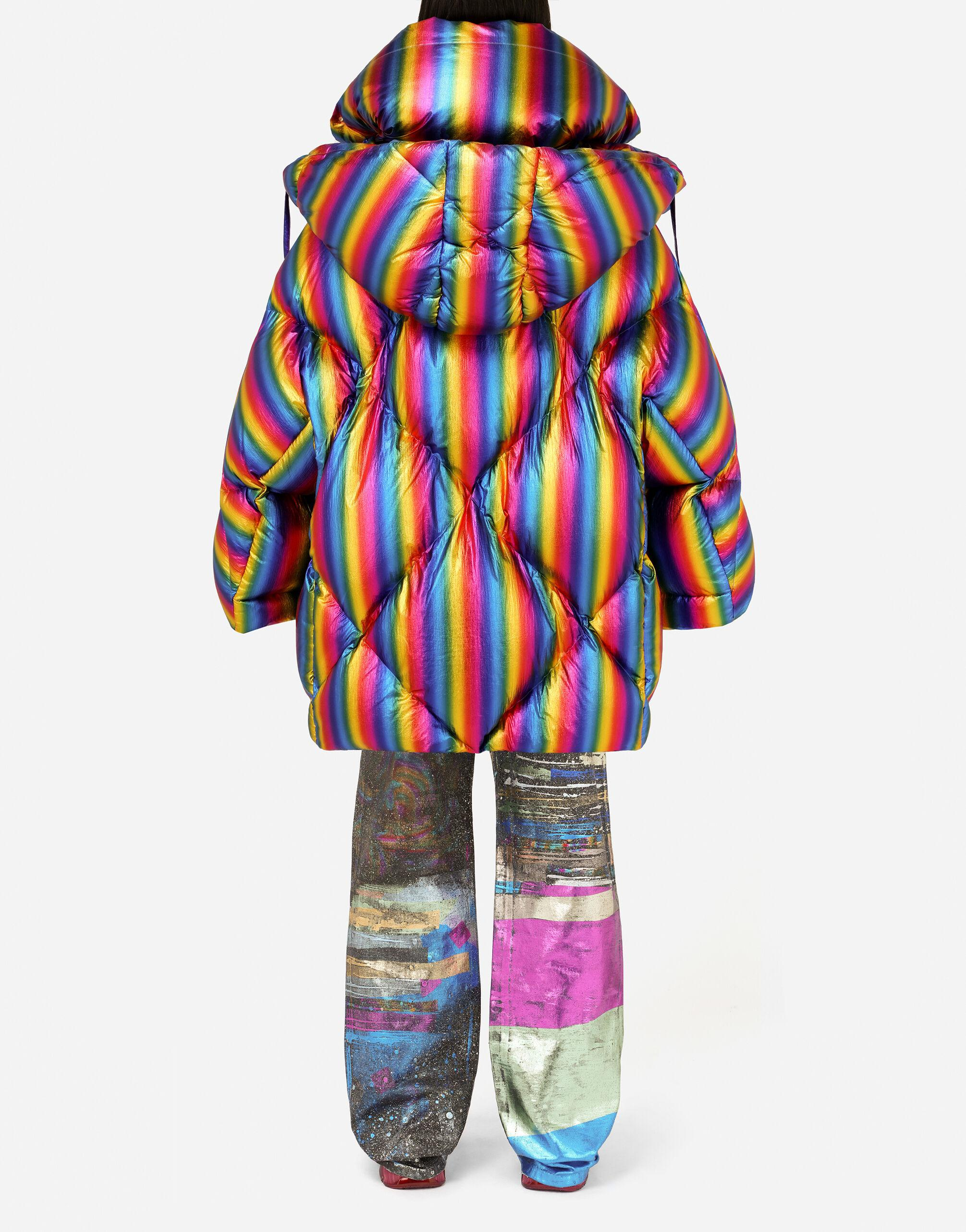 Foiled nylon down jacket with multi-colored stripes 1