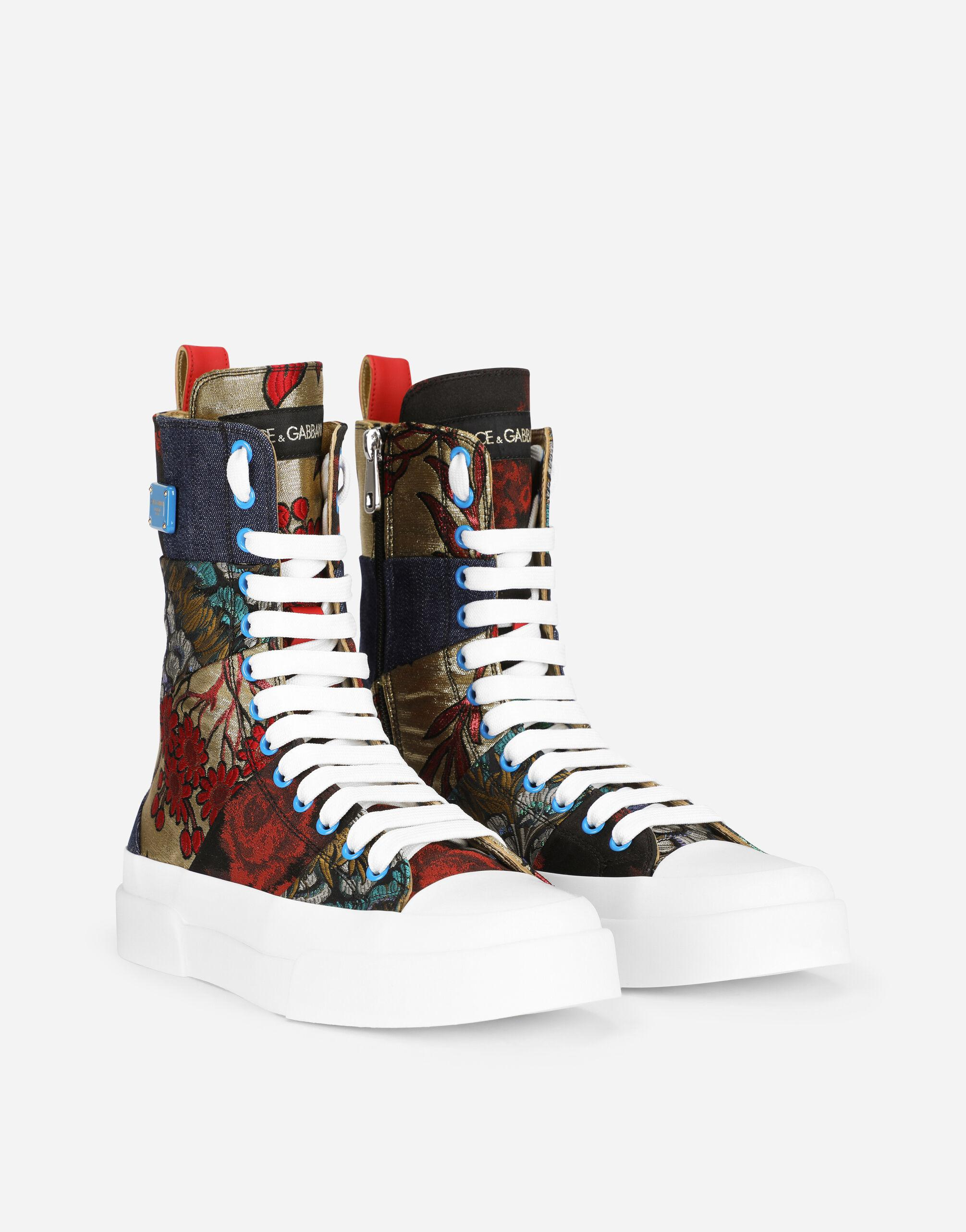 Patchwork fabric Portofino light high-top sneakers with logo plate 1