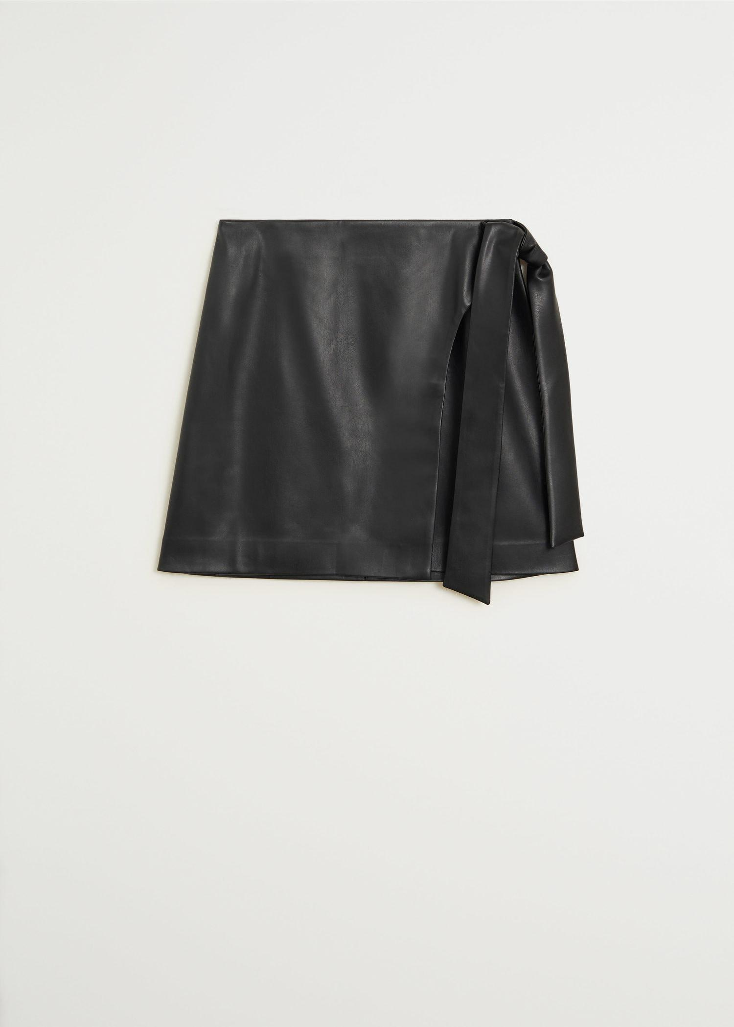 Knot leather-effect mini skirt 5