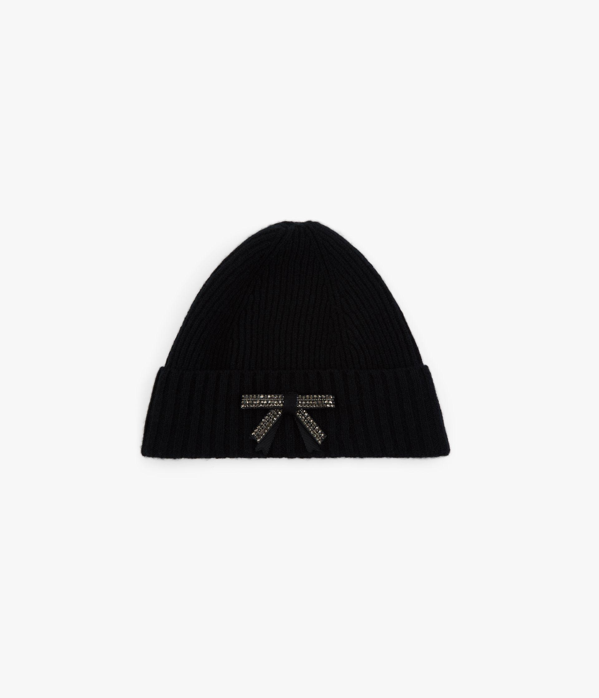 Bow Embellished Beanie Hat Wool