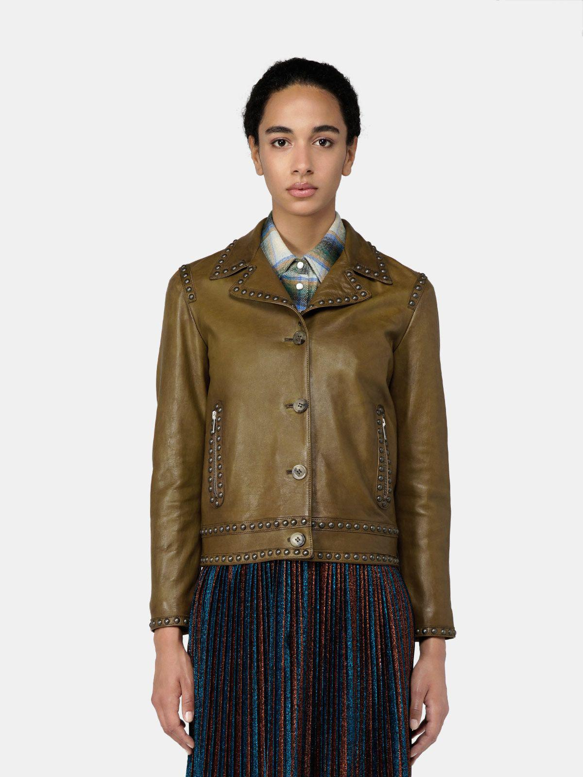 Angelina jacket in leather with decorative studs