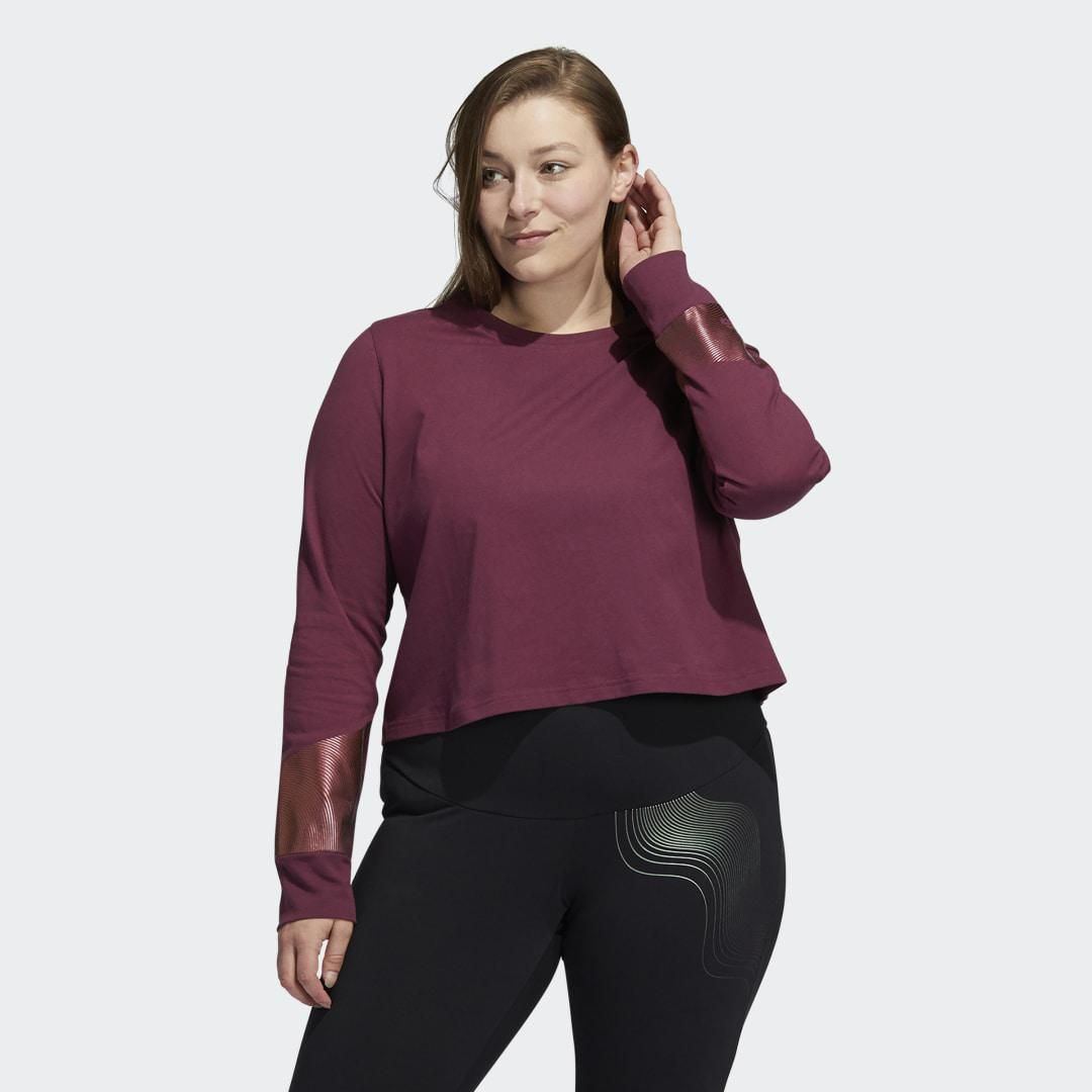 Holiday Graphic Cropped Long Sleeve Tee (Plus Size) Victory Crimson