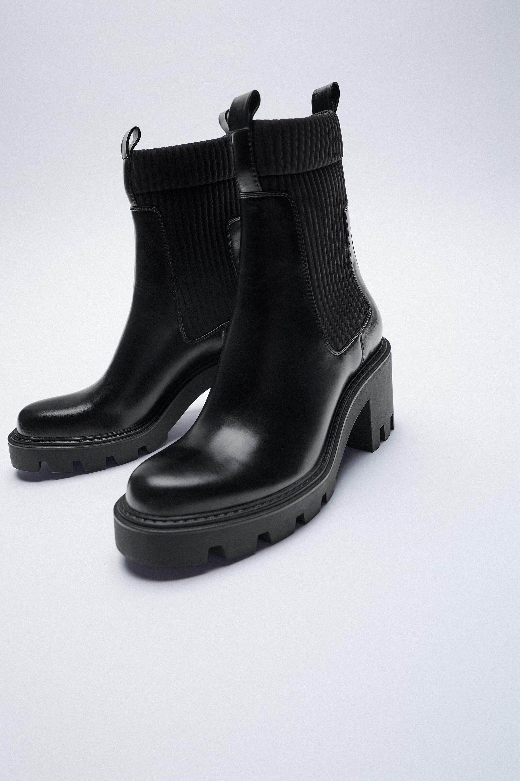 SOCK STYLE HEELED ANKLE BOOTS WITH LUG SOLES 1