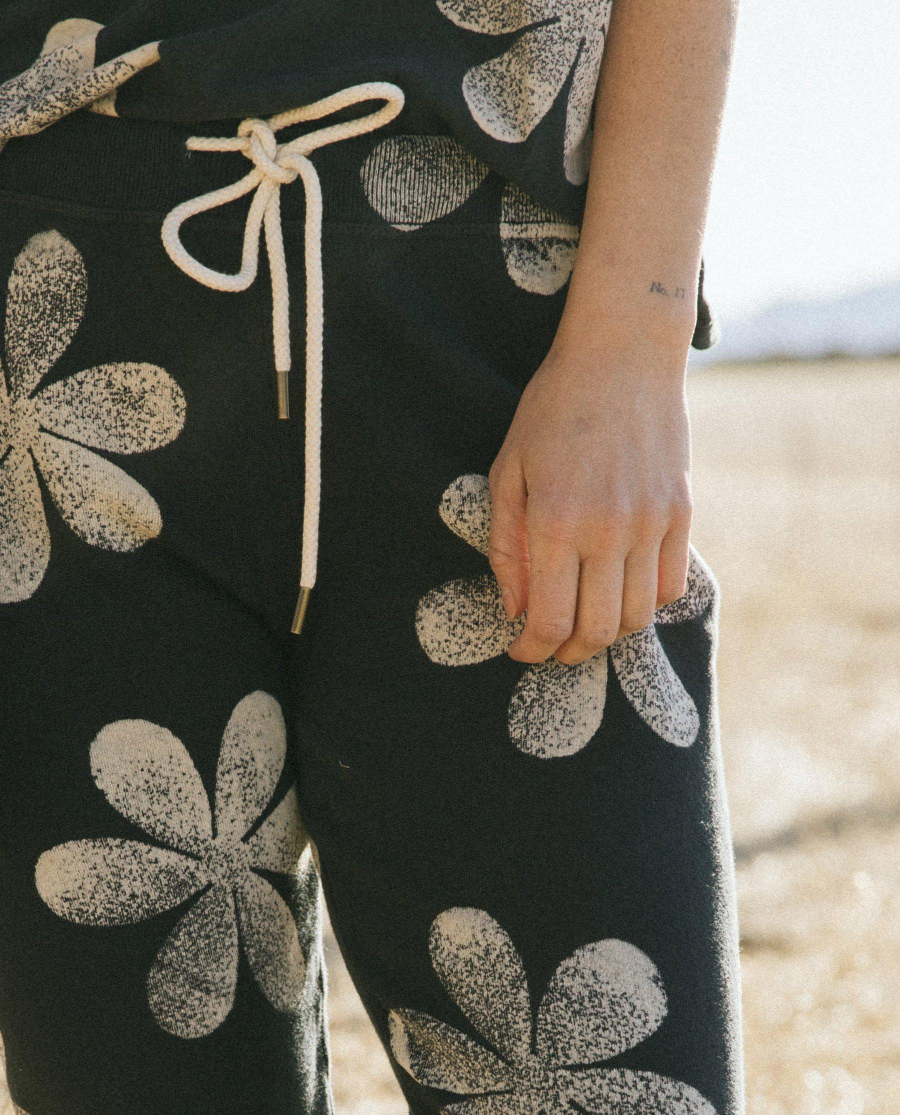 The Cropped Sweatpant. Novelty -- Almost Black with Daisy Stamp 3