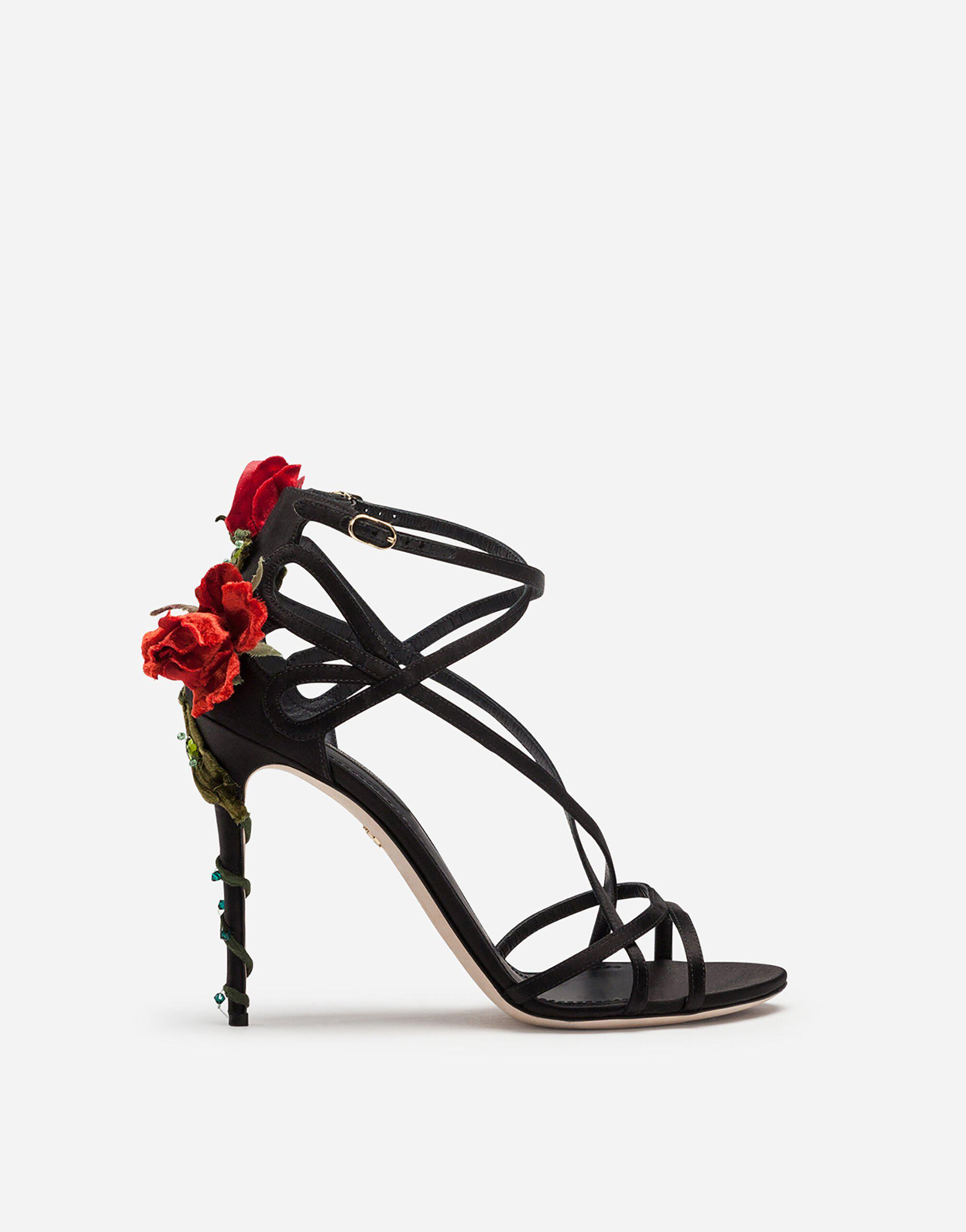 Satin sandals with embroidery 0