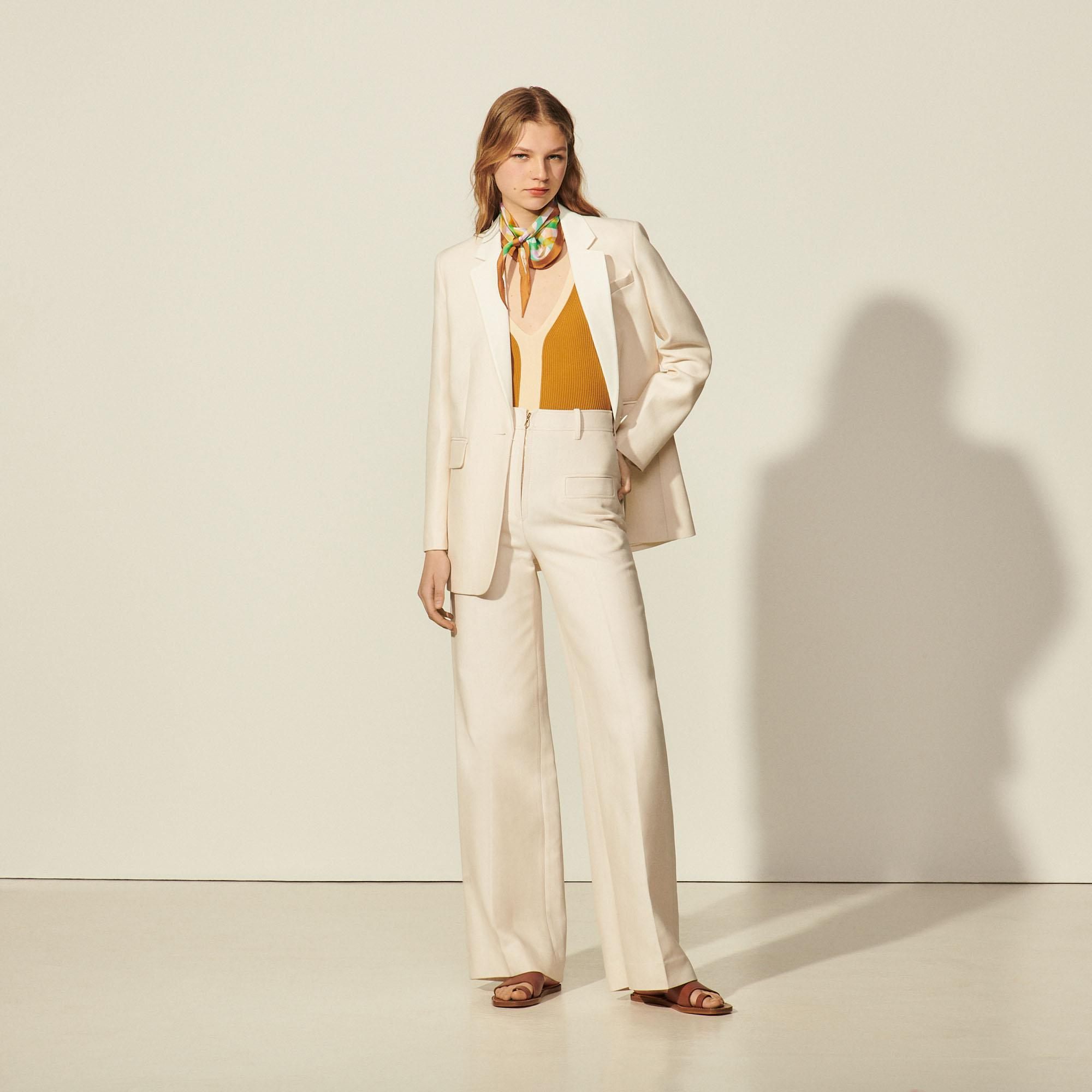 Pants with center front zip