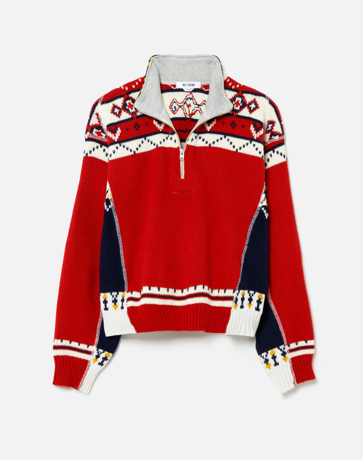 80s Upcycled Holiday Half Zip Sweater