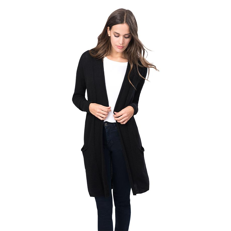 Women's Open Cashmere Cardigan in Black   Size: XS/Small   100% Italian Cashmere by Cuyana 1