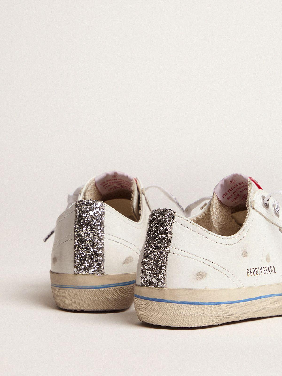 White leather V-Star sneakers with glittery vertical strip 3