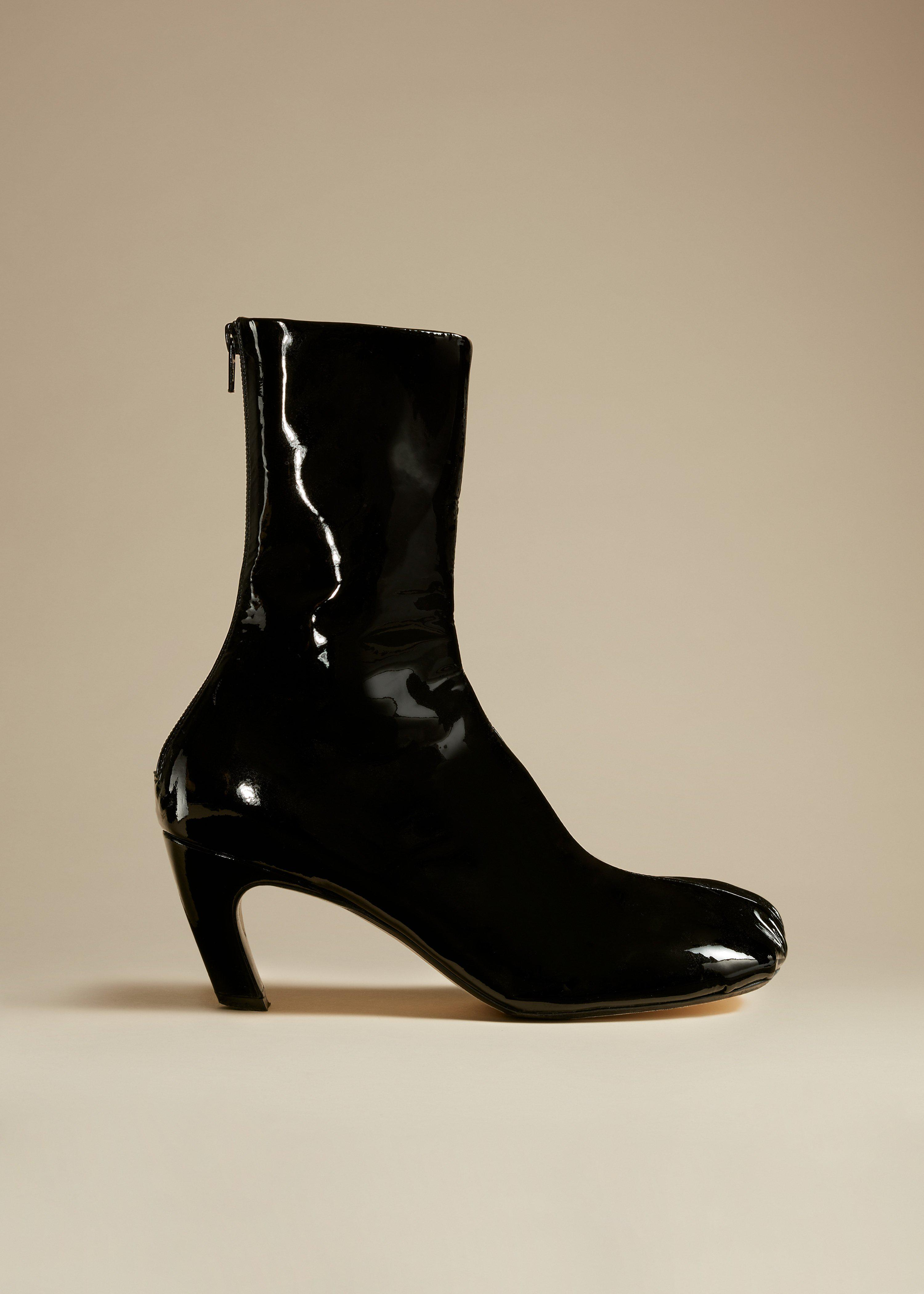 The Normandy Boot in Black Patent Leather