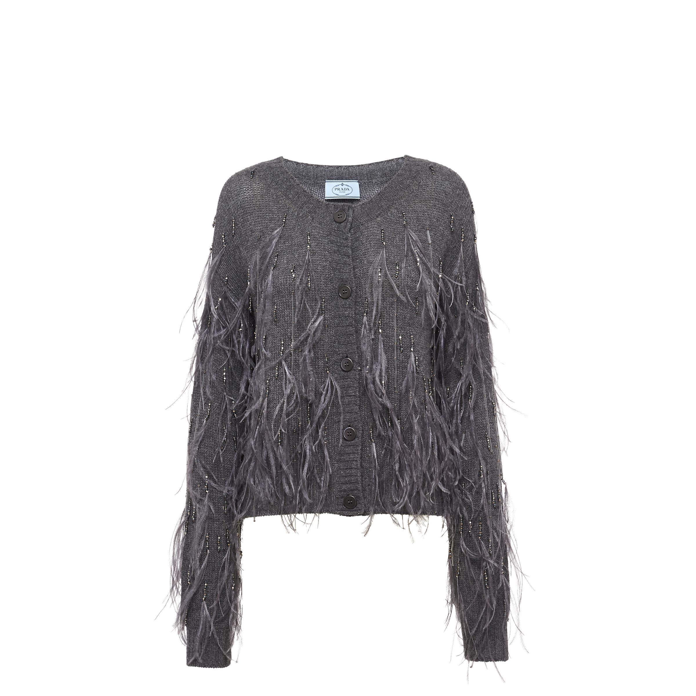 Embroidered Cashmere Cardigan Women Slate Gray