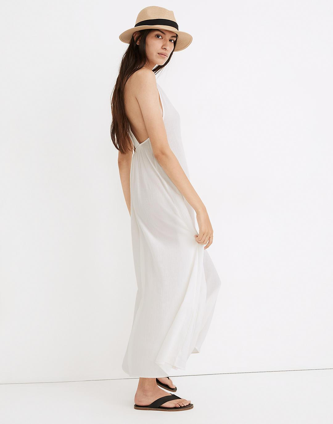 Voile Cross-Back Cover-Up Maxi Dress