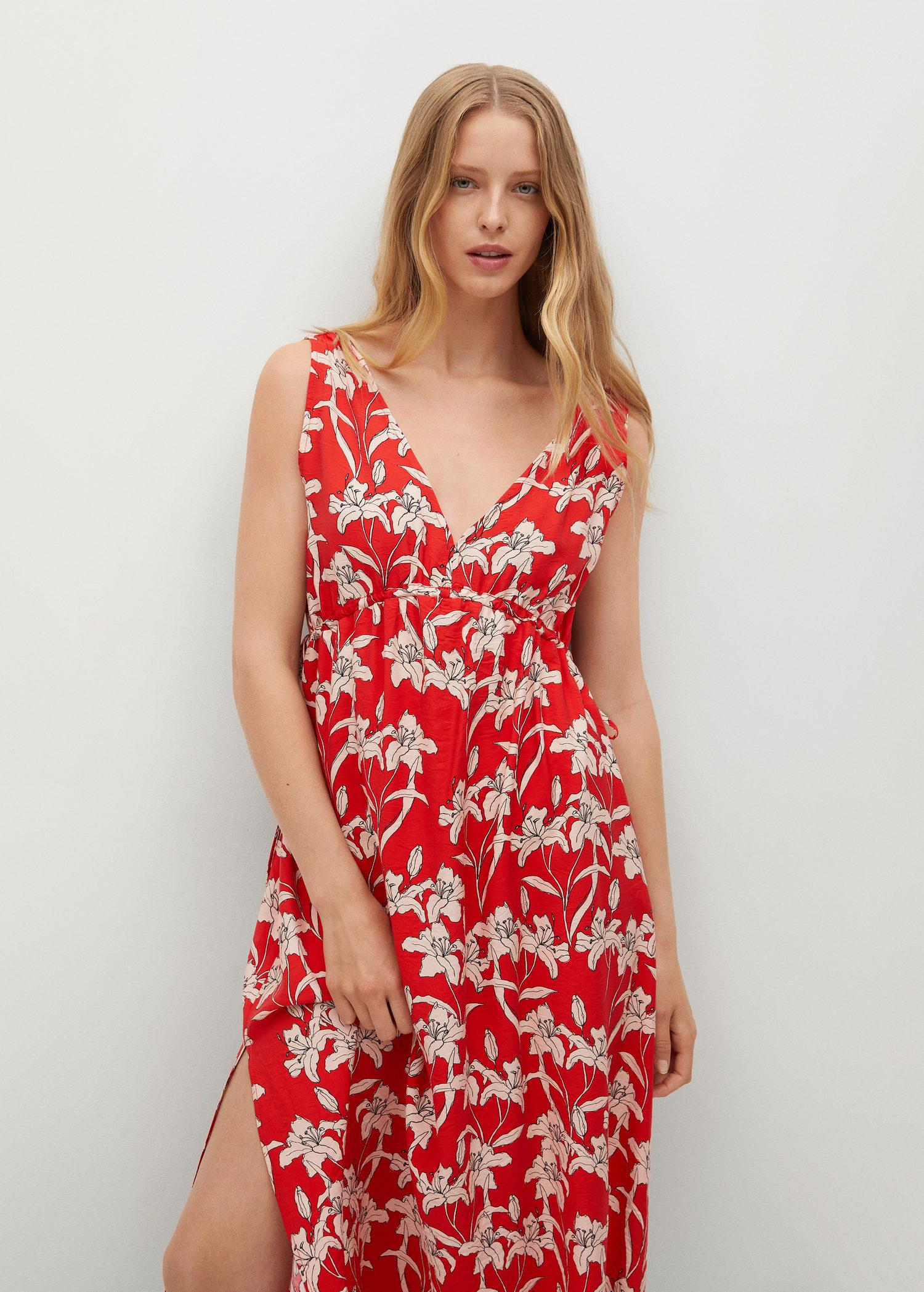 Printed cut-out detail dress
