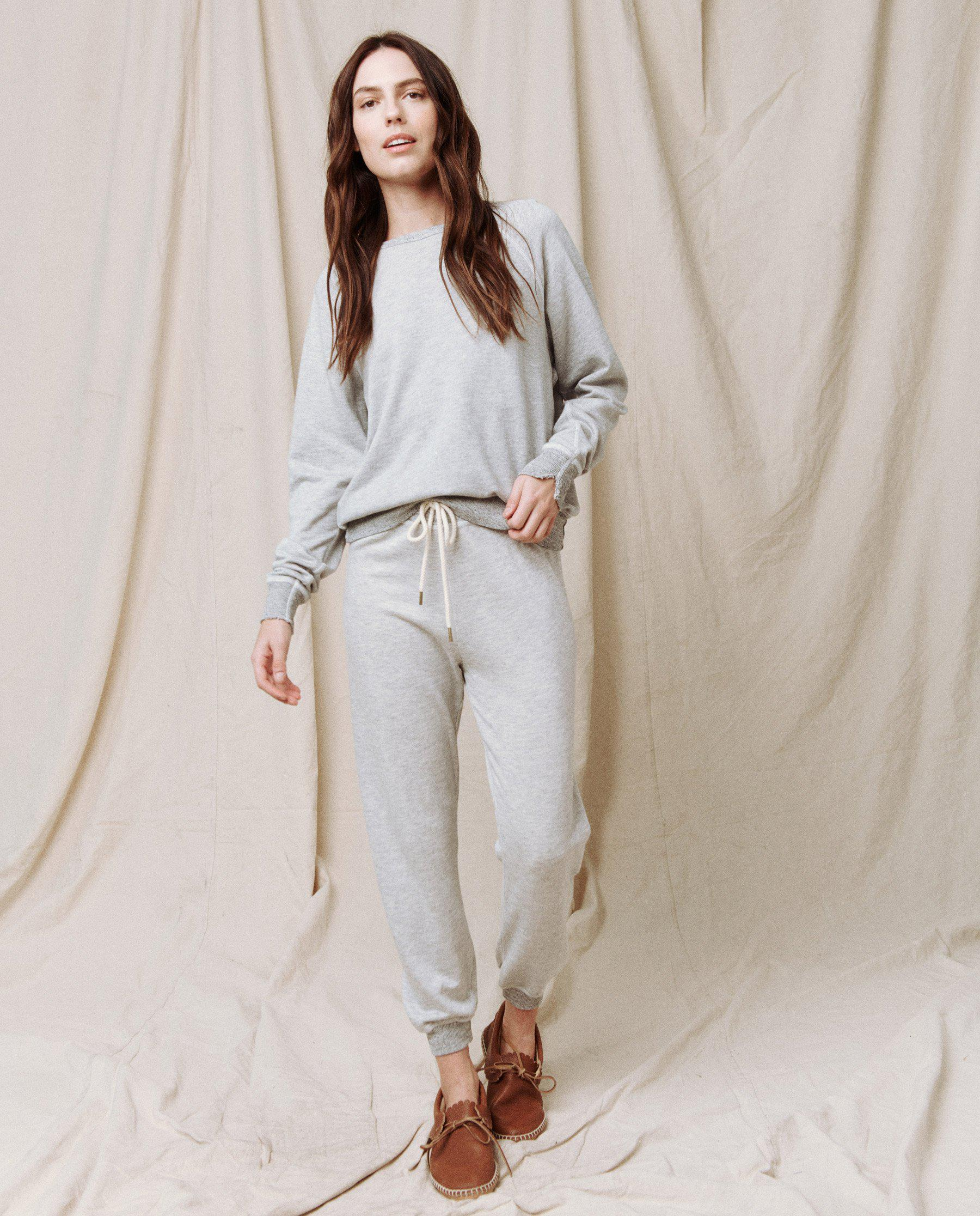 The Cropped Sweatpant. Solid -- Light Heather Grey