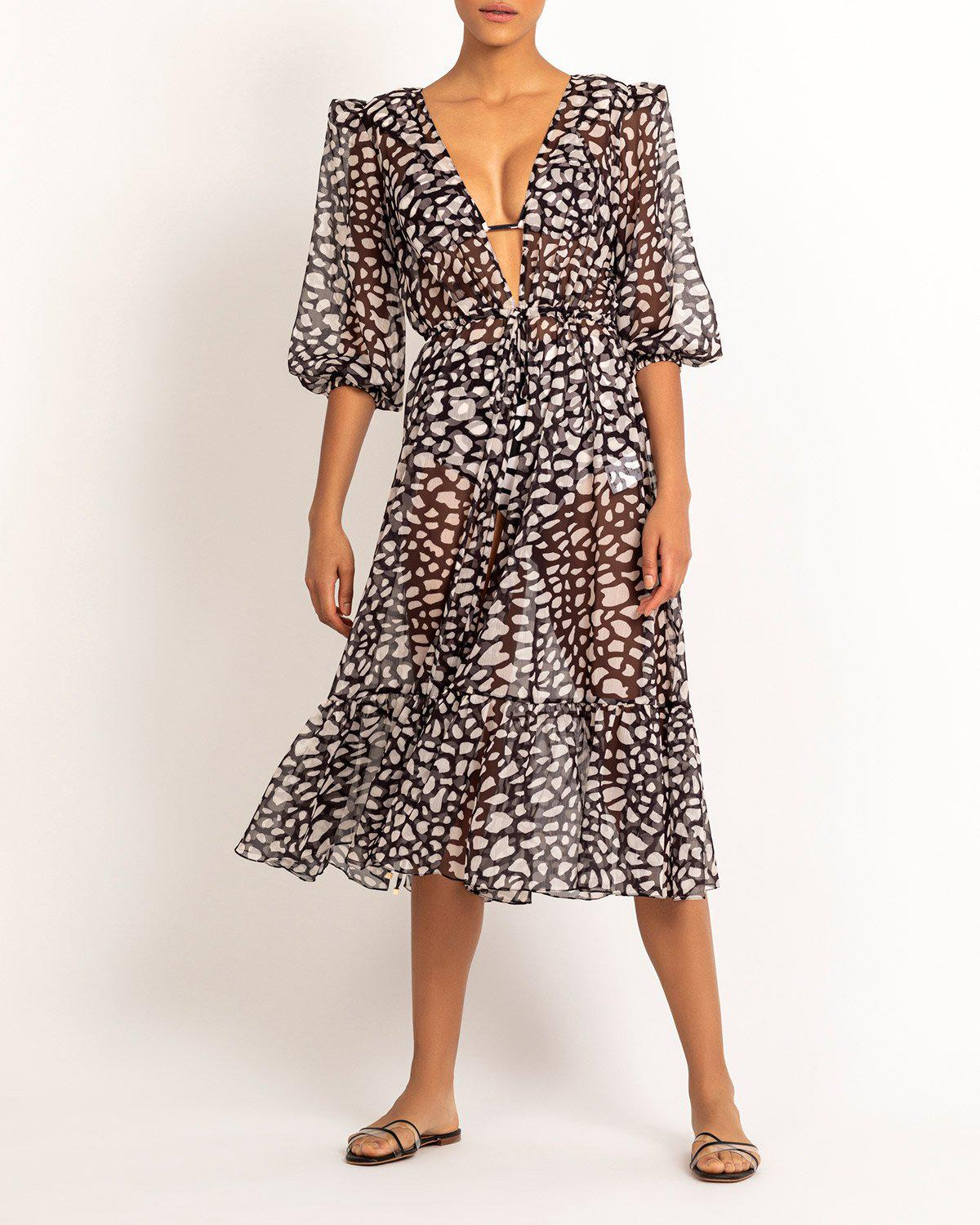 SPOTTED PRINT ROBE