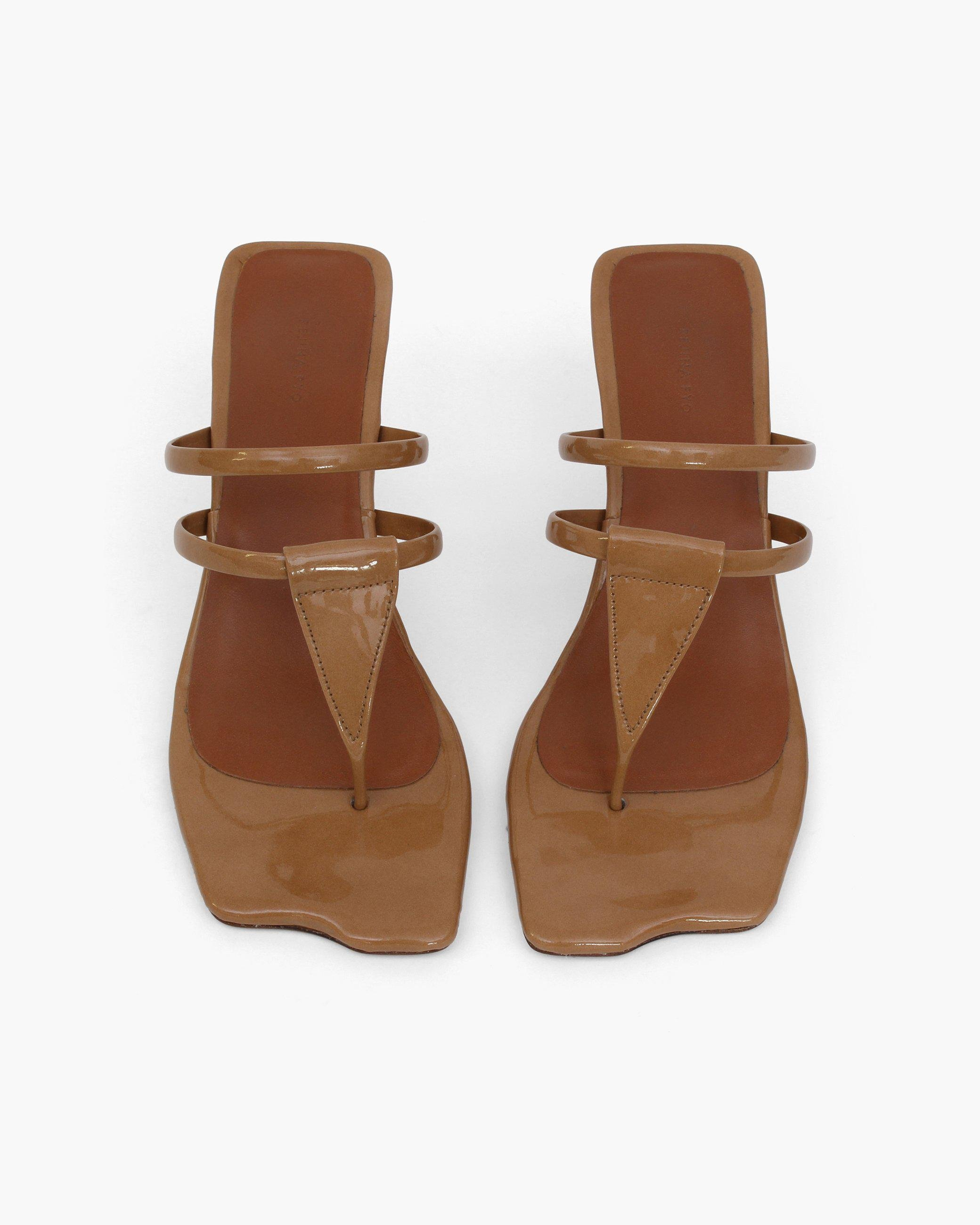 Allie Sandals Patent Leather Brown 3