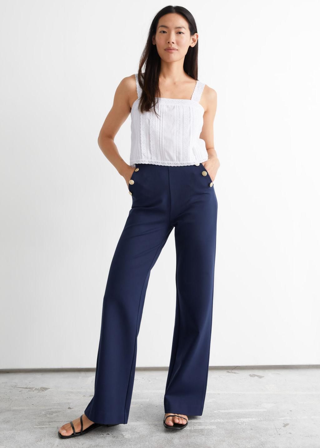 Flared Buttoned Trousers