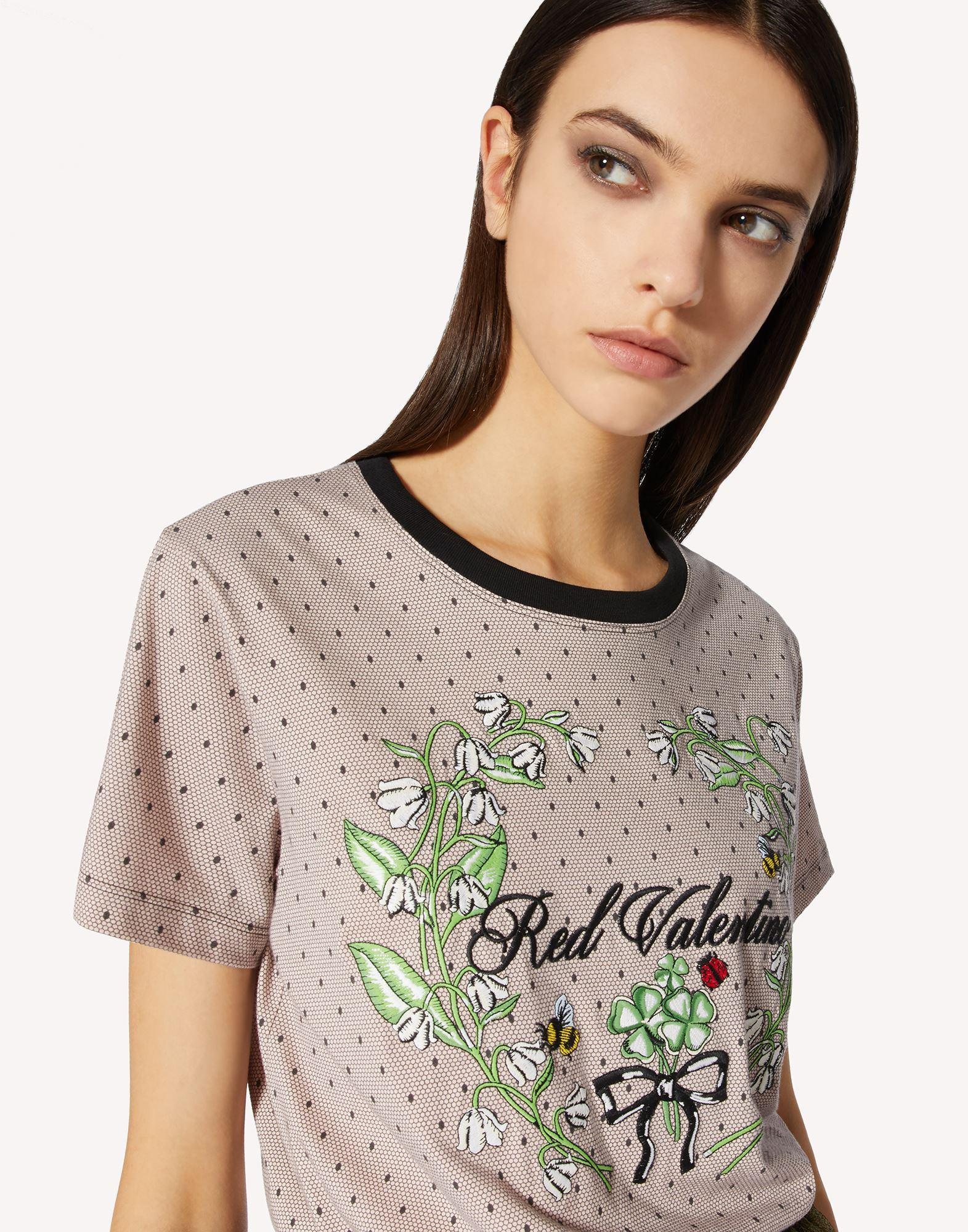 T-SHIRT WITH POINT D'ESPRIT AND FLORAL PRINT 3