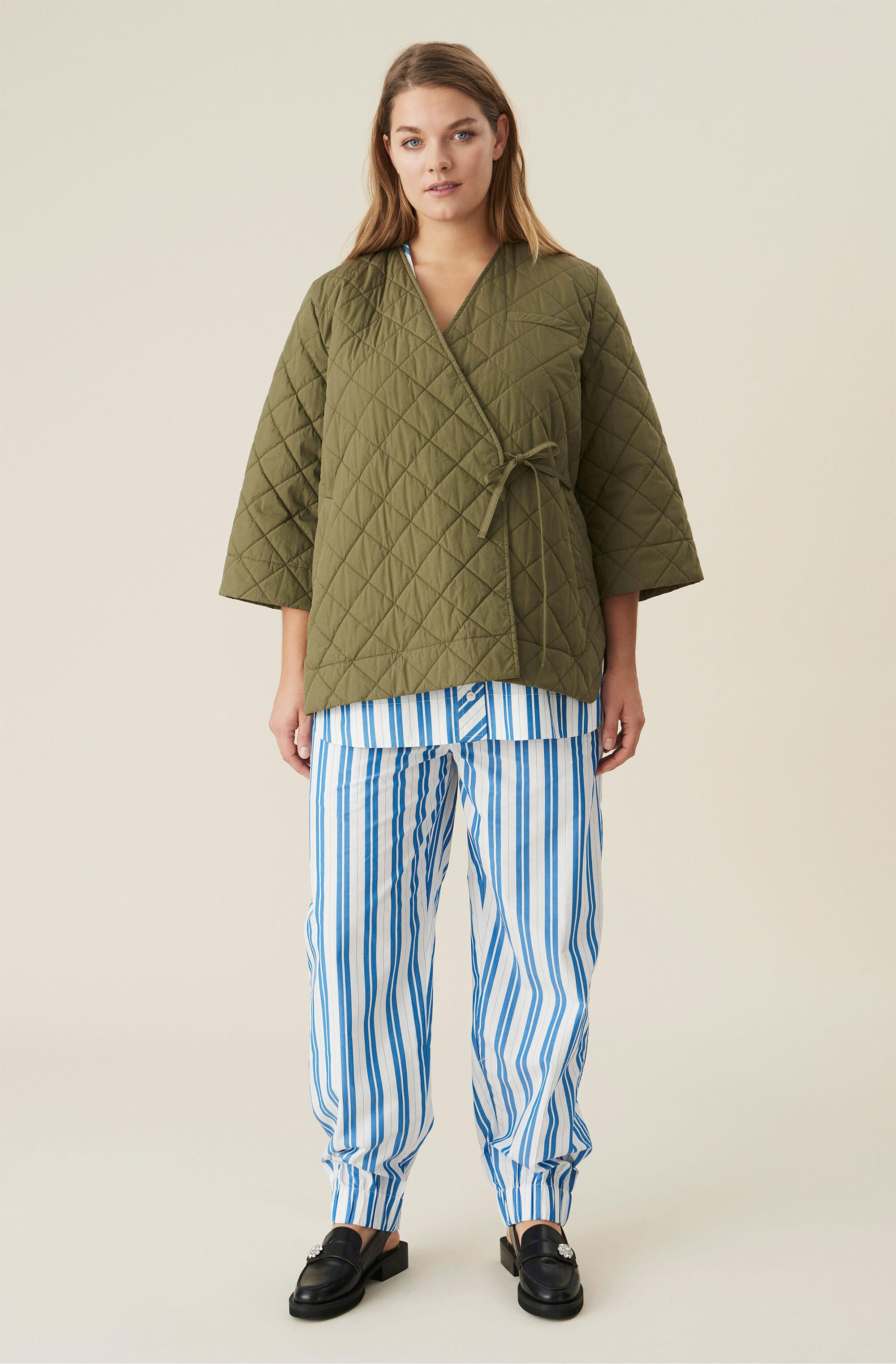 Oversized Quilted Canvas Wrap Jacket