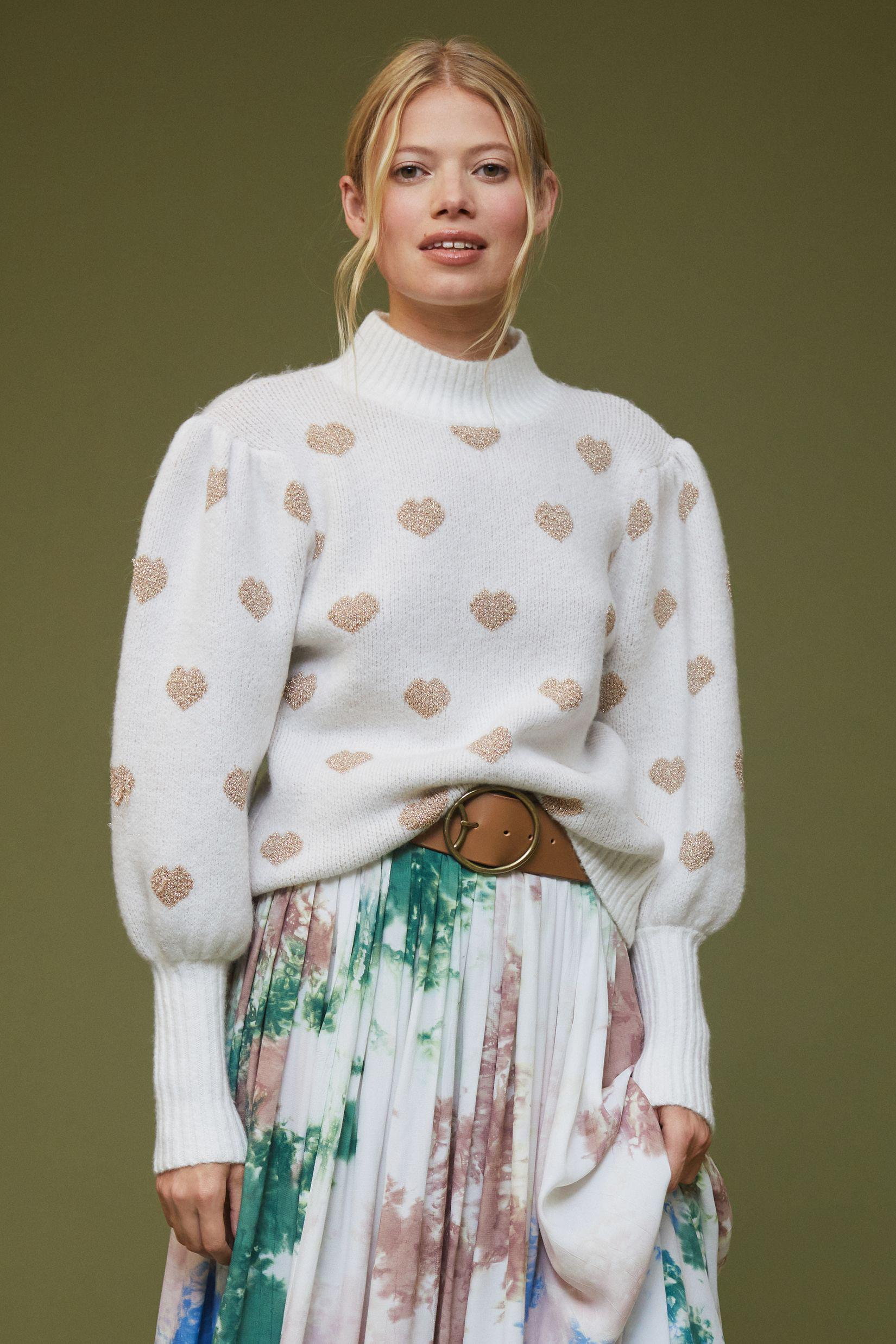 Hearts High Neck Sweater