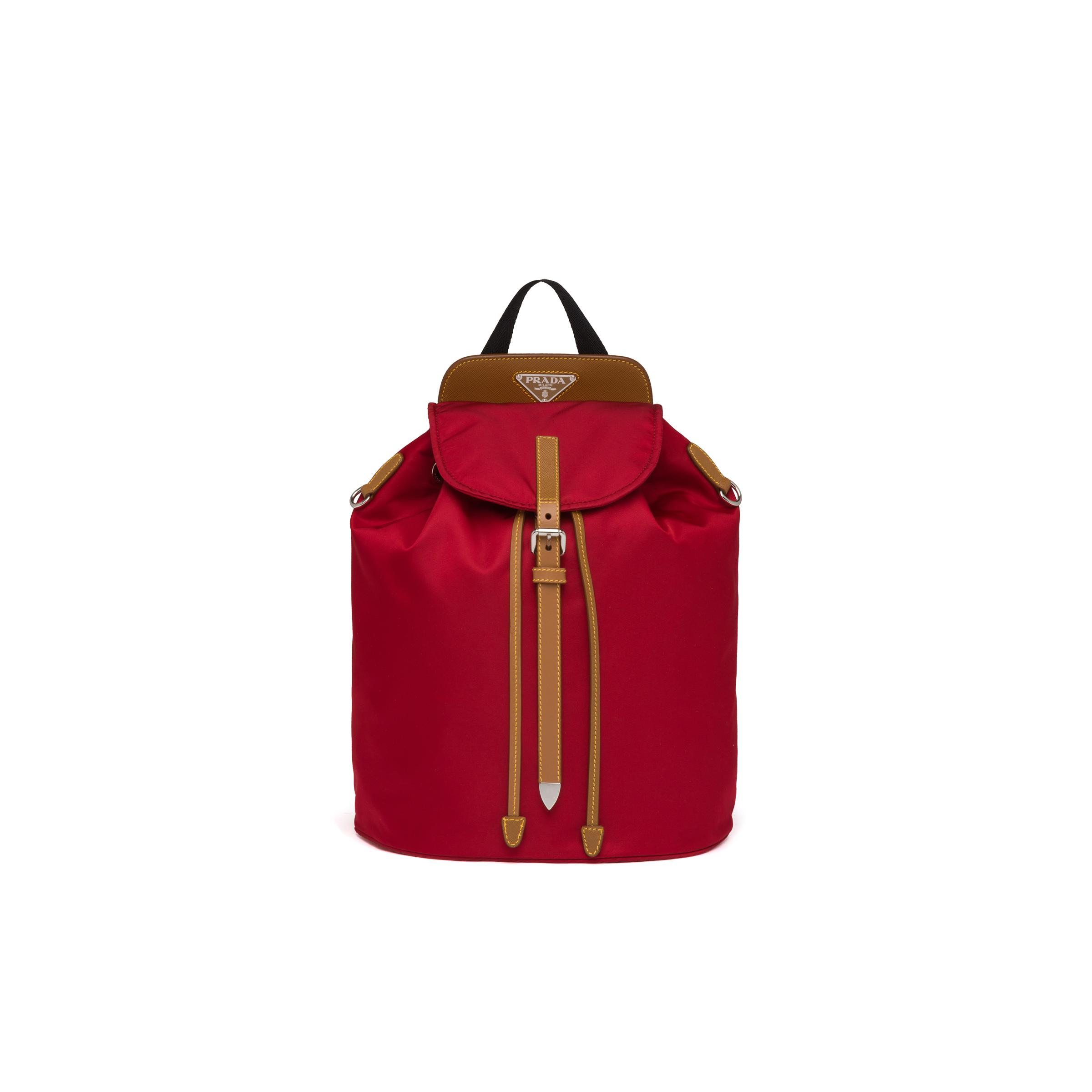 Nylon And Saffiano Leather Backpack Women Fire Engine Red/caramel