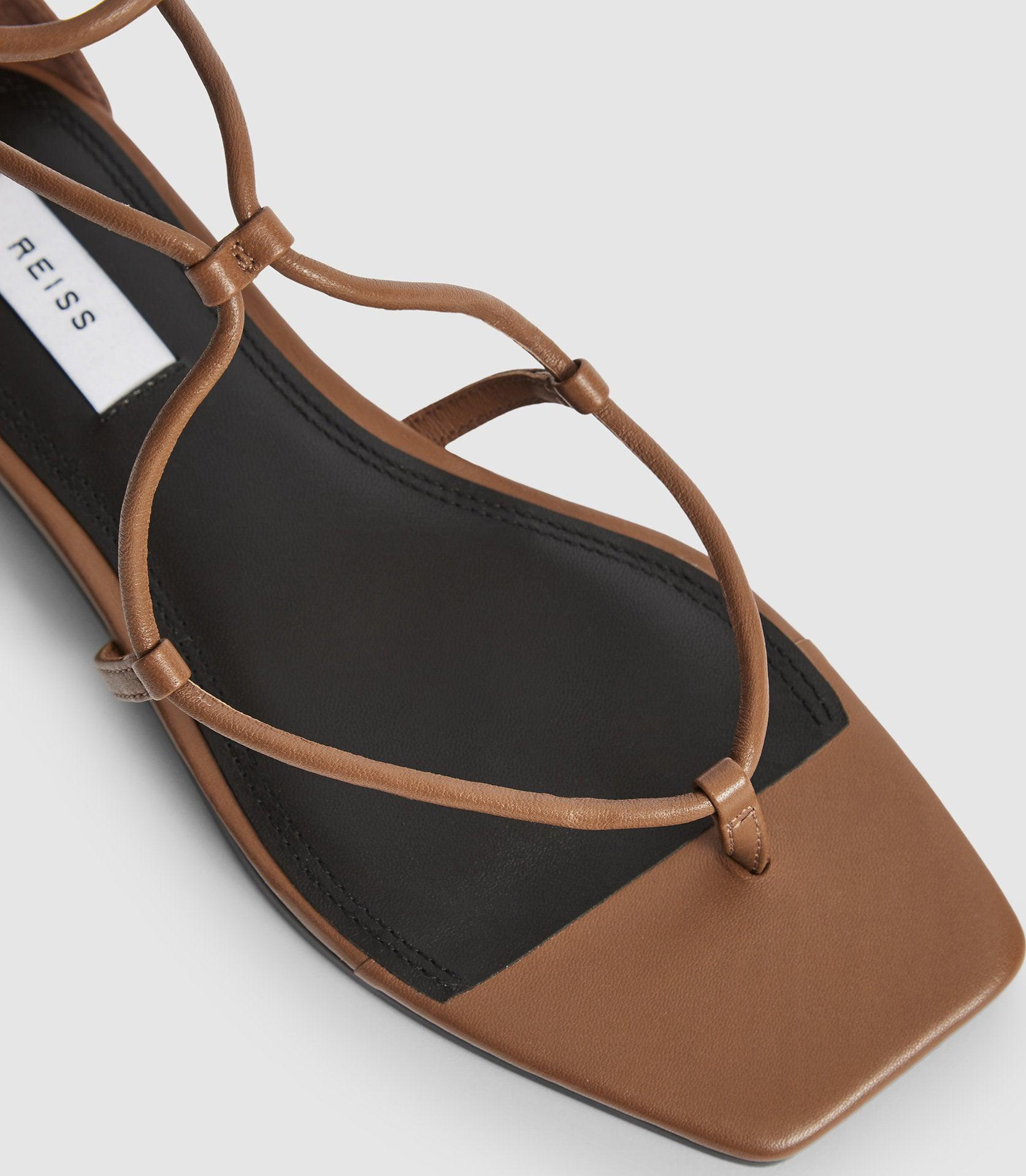 KALI FLAT - LEATHER STRAPPY WRAP SANDALS 2