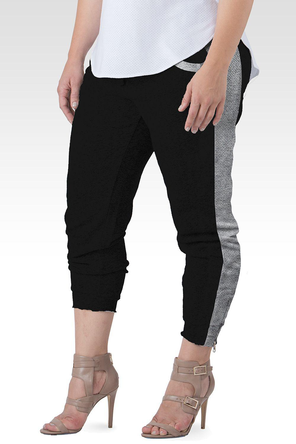 Sami Black French Terry With Grey Mesh Side Ankle Zip Pull On Jogger Pants