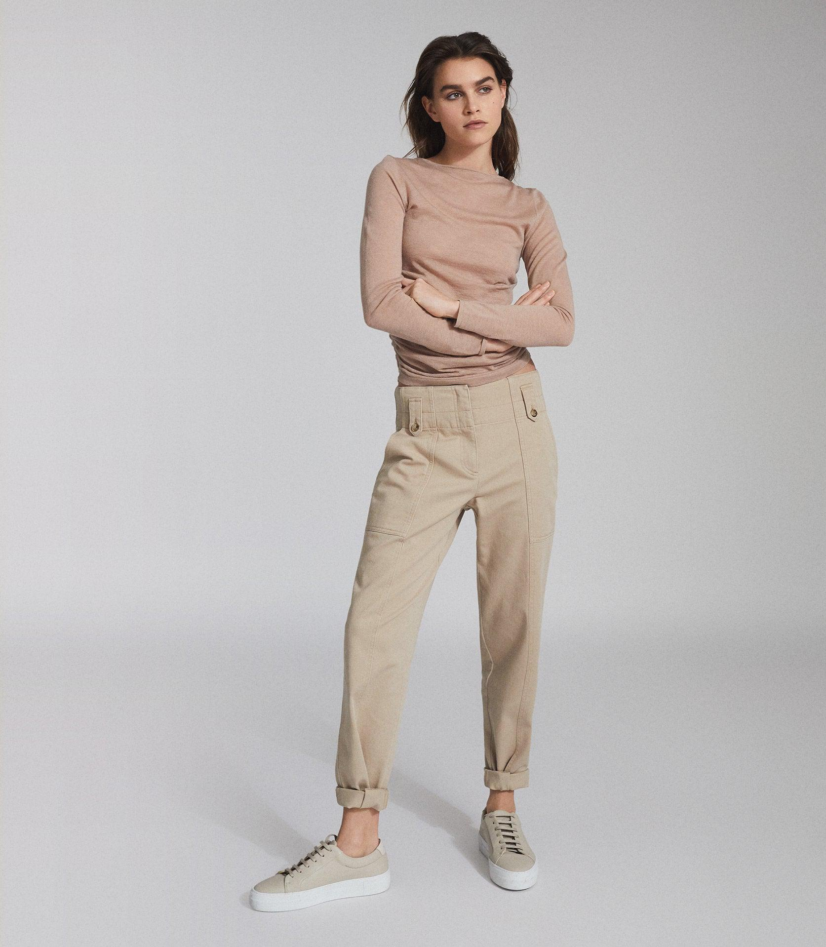 MARGOT - WOOL CASHMERE BLEND RUCHED TOP