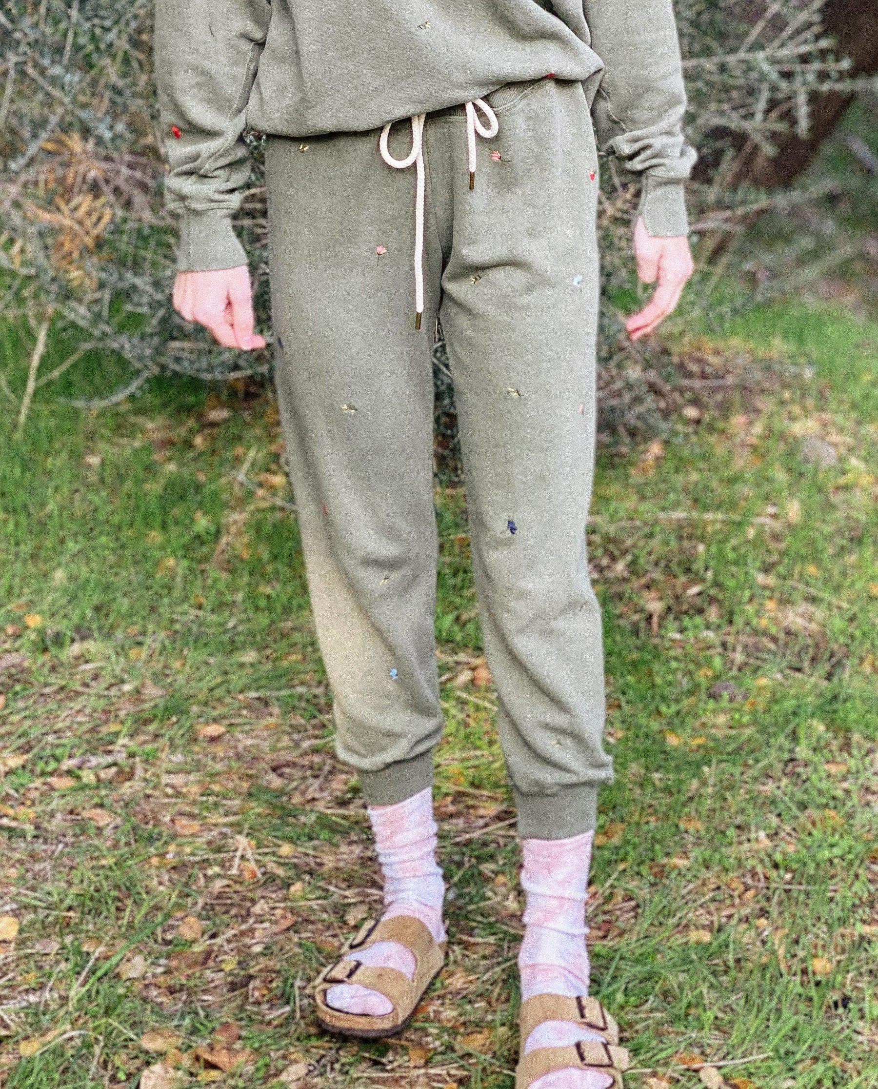 The Cropped Sweatpant. Embroidered -- Army with Tossed Floral Embroidery
